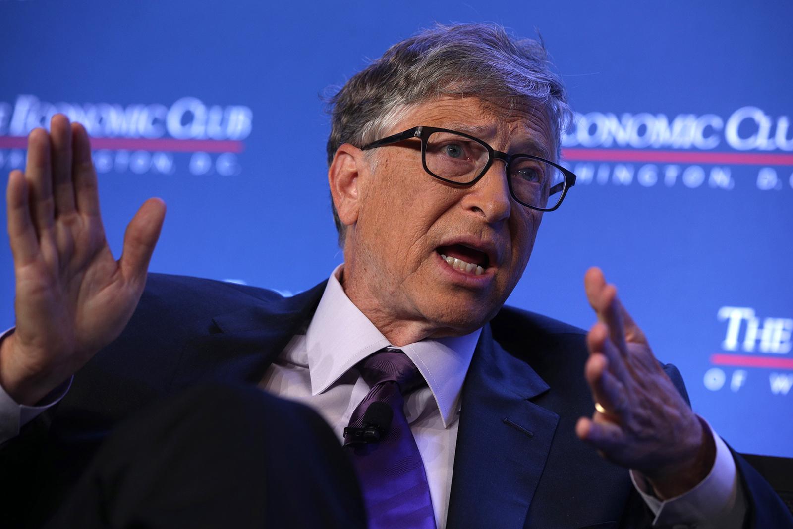 Microsoft principle founder Bill Gates participates in a discussion at the Economic Club of Washington, in Washington, DC on June 24, 2019.