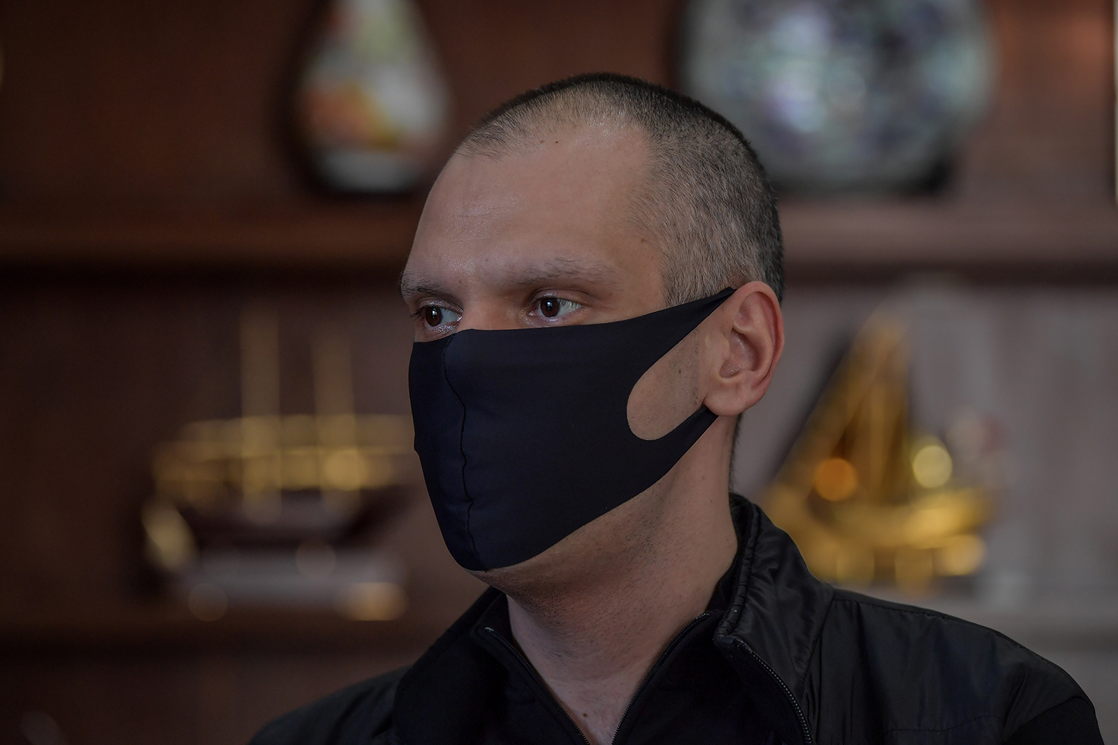 São Paulo's Mayor Bruno Covas wears a face mask as he speaks during an interview with AFP at the City Hall of São Paulo, Brazil, on May 21.