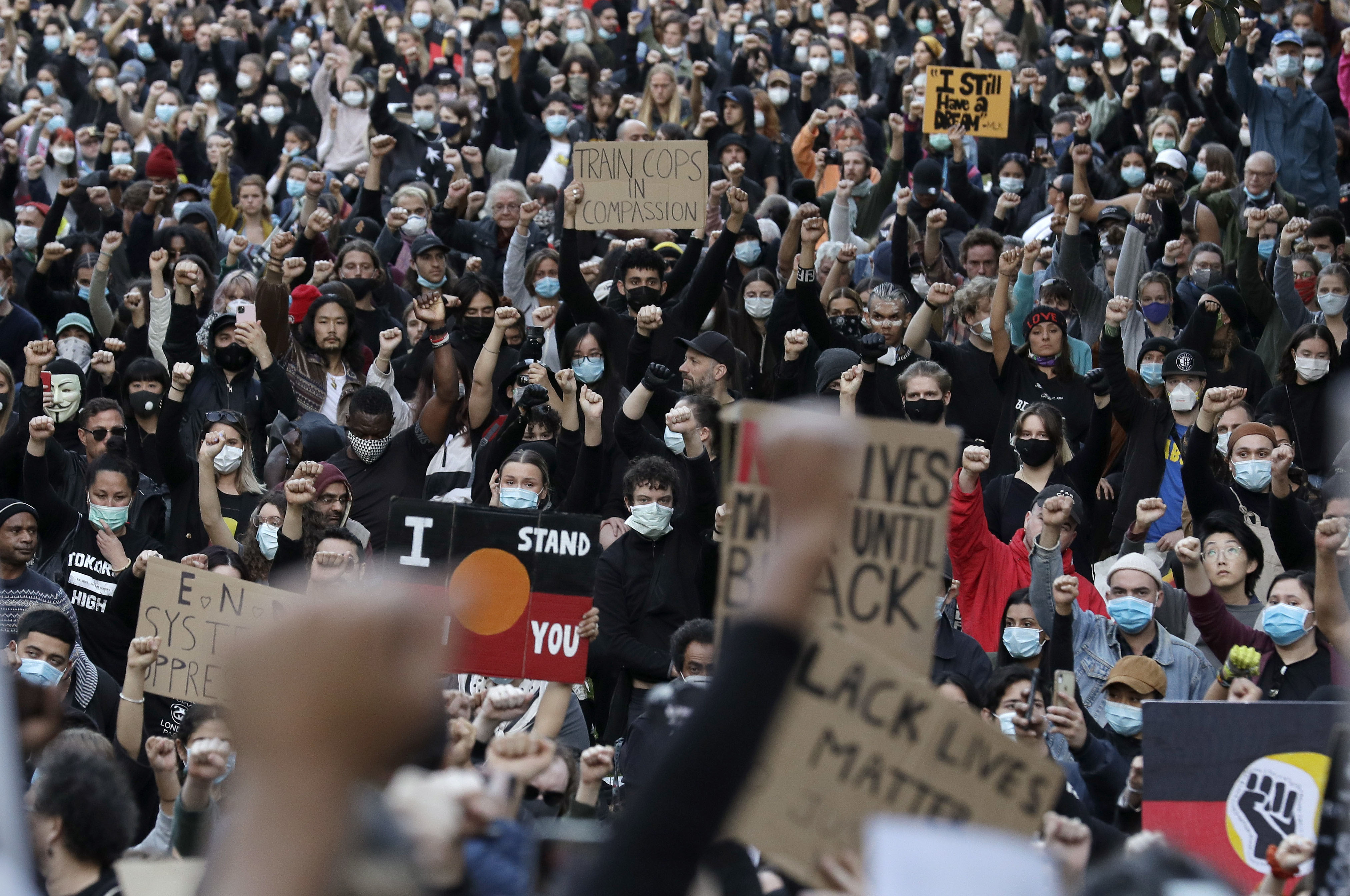 Protesters gather in Sydney on June 6.