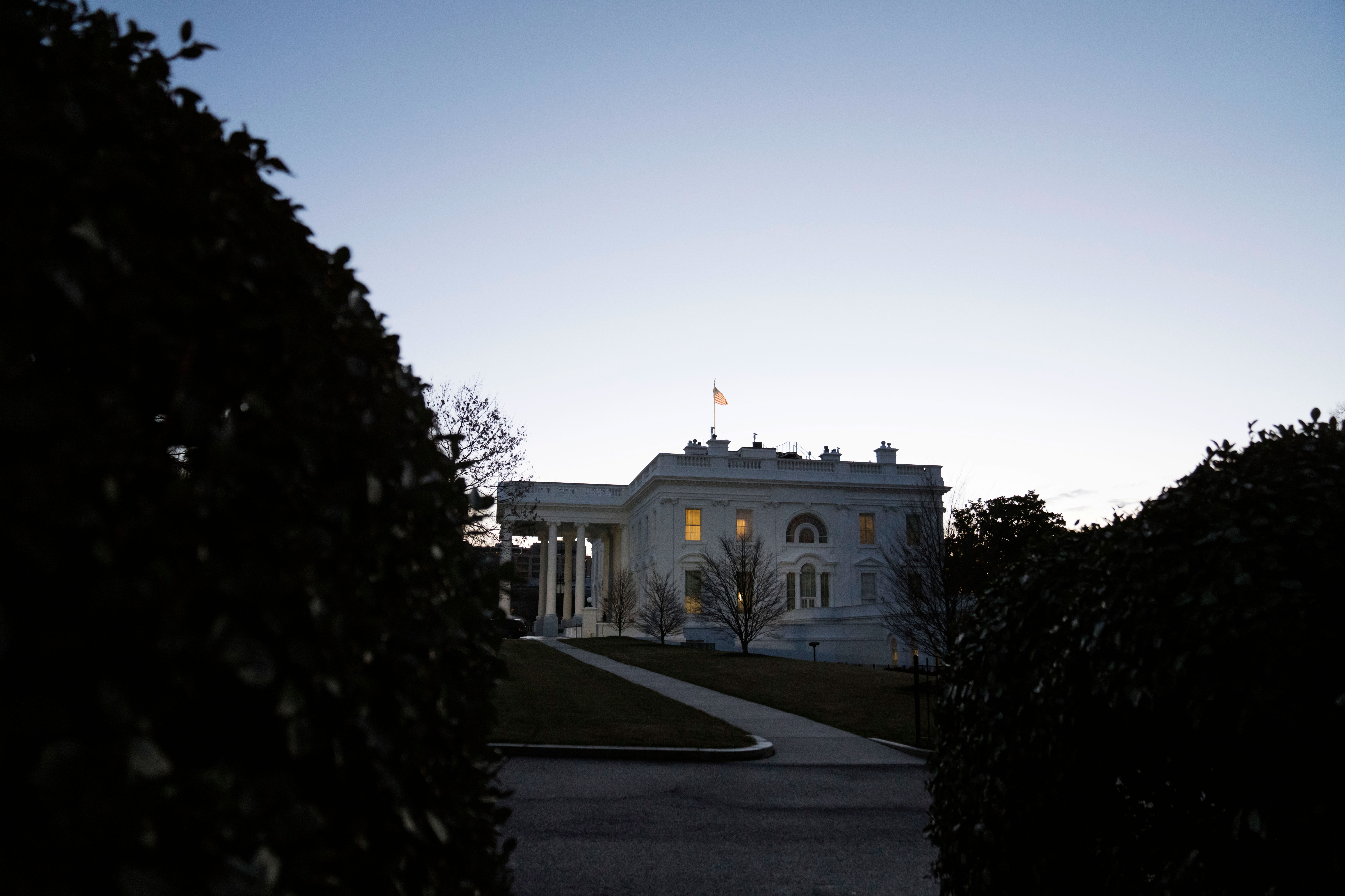 The White House is pictured on January 20.