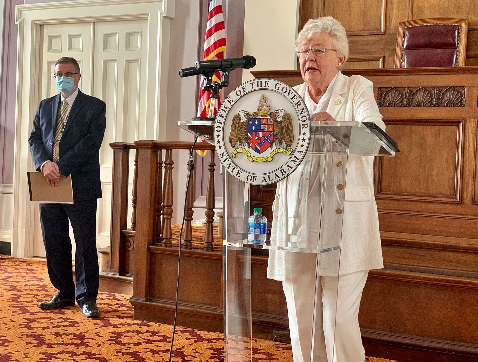 Alabama Gov. Kay Ivey speaks during a news conference in Montgomery on Wednesday, July 29.
