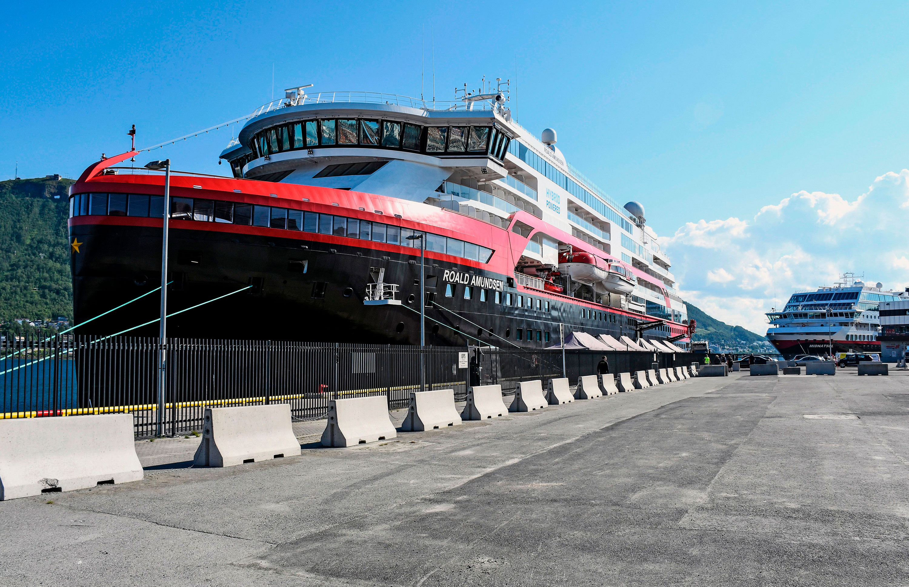 The expedition cruise ship MS Roald Amundsen is docked on July 31 in Tromso, Norway.