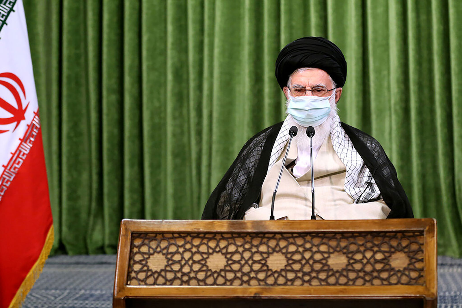 Iran's Supreme Leader Ayatollah Ali Khamenei holds a virtual meeting with lawmakers in Tehran on July 12.