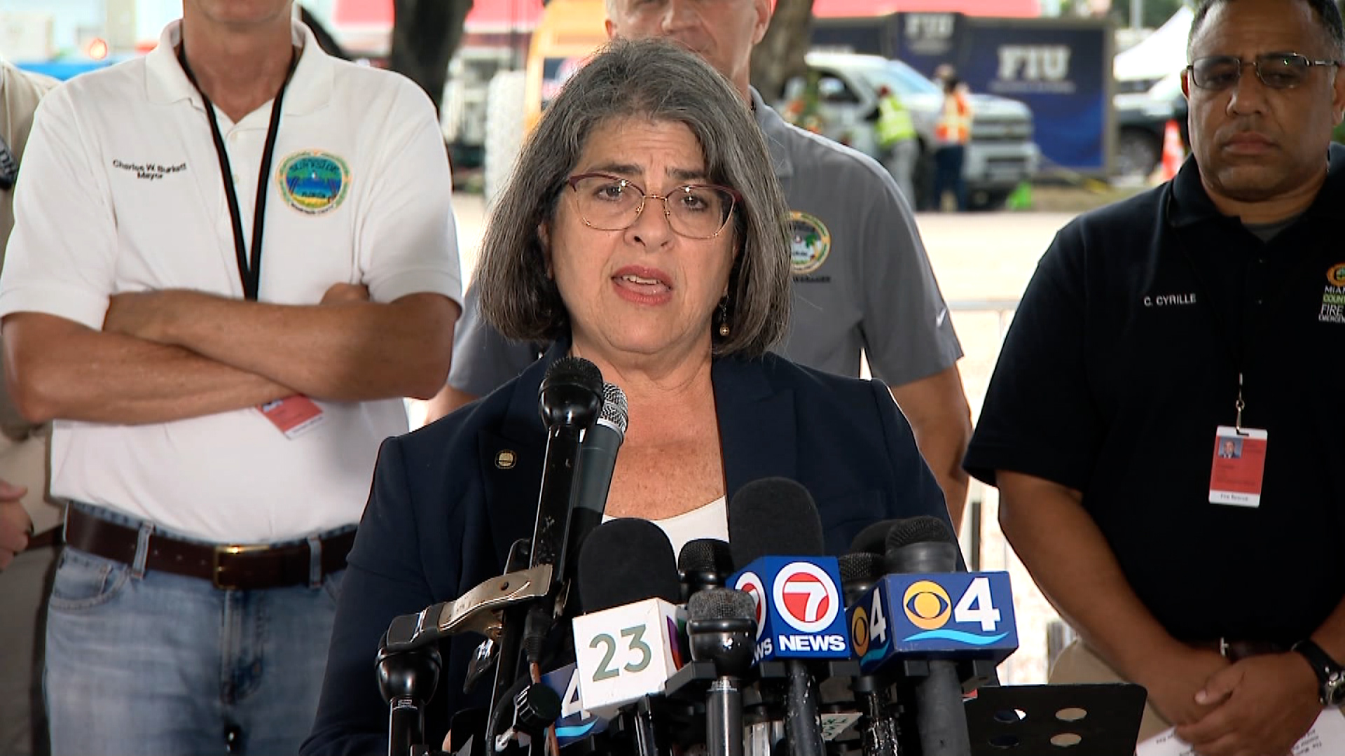 Miami-Dade County Mayor Daniella Levine Cava speaks during a press conference in Surfside, Florida, on July 2.