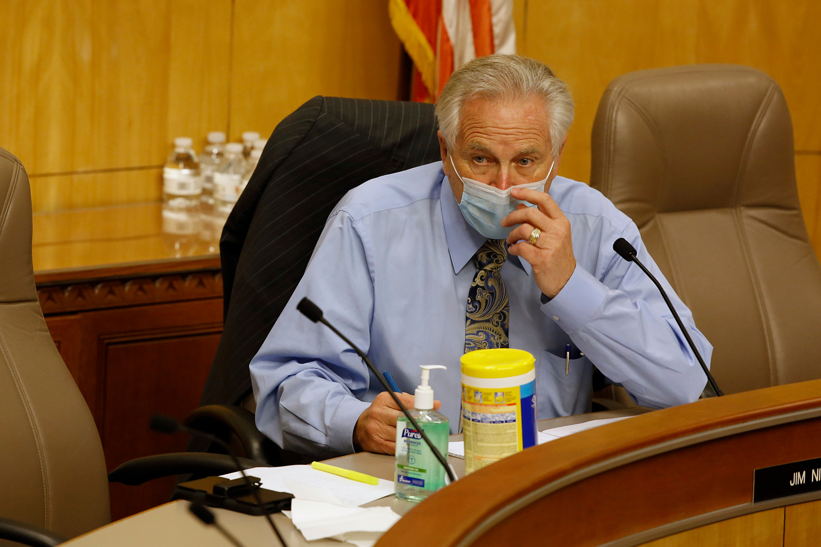 California Sen. Jim Nielsen, adjusts his face mask during a hearing of the special subcommittee on Covid-19, at the Capitol in Sacramento, California on April 16.