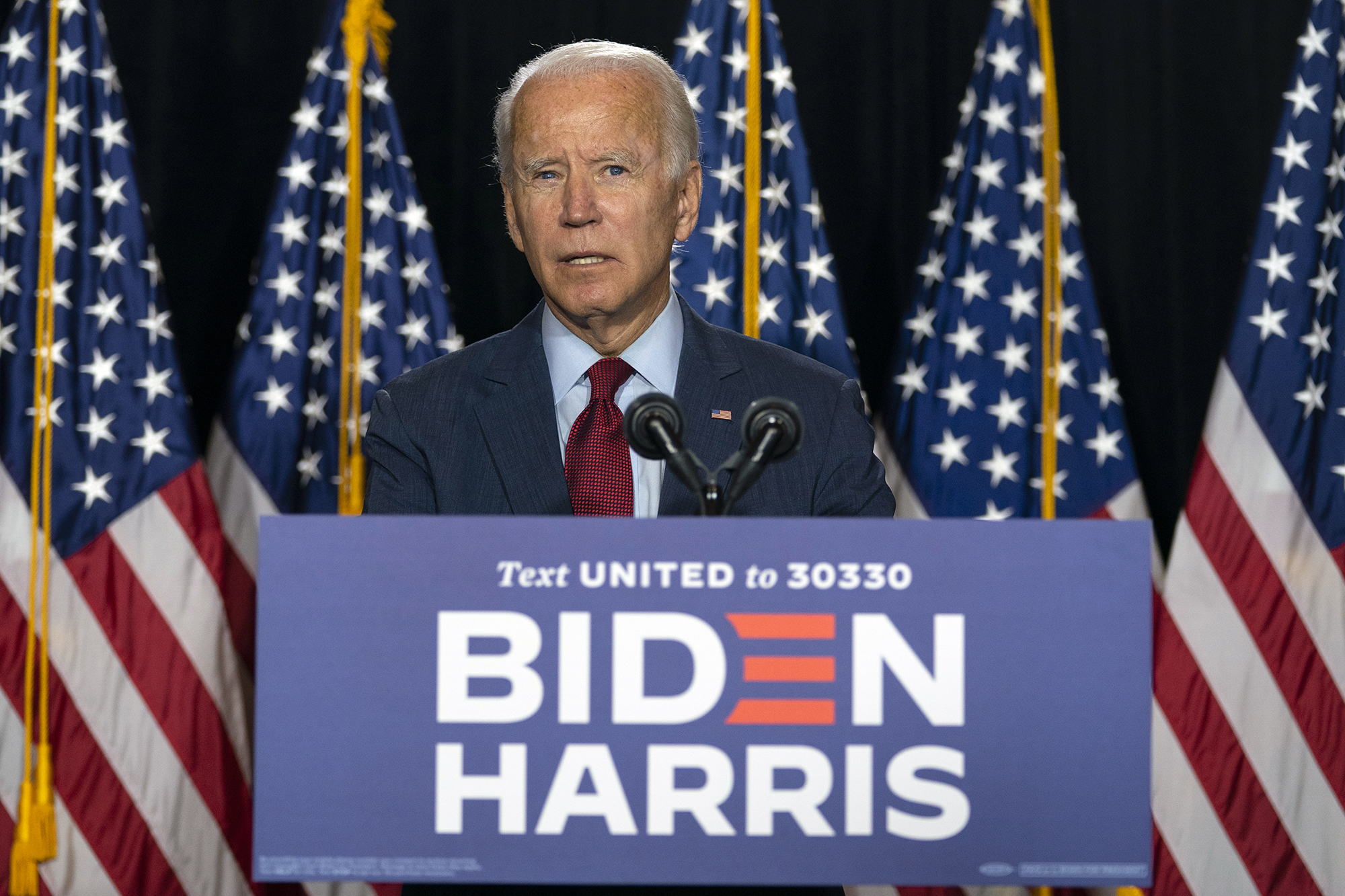 In this Aug. 13, 2020, file photo, Democratic presidential candidate former Vice President Joe Biden speaks during a news conference at the Hotel DuPont in Wilmington, Delaware.