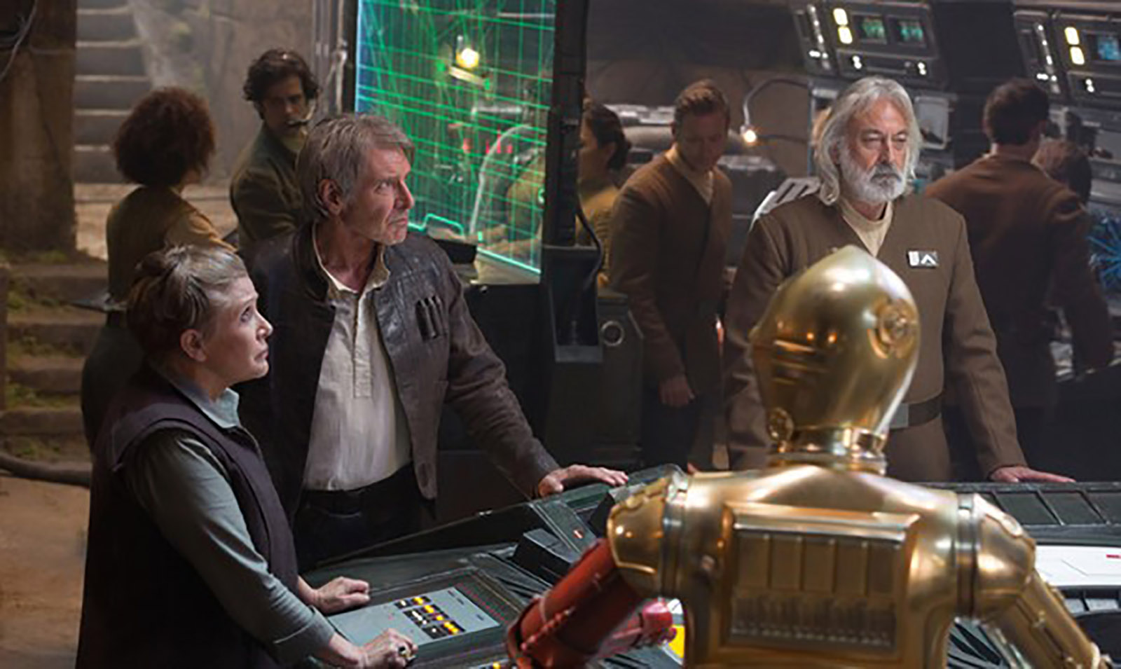 """Andrew Jack, right, appeared in """"Star Wars: Episode VII - The Force Awakens,"""" alongside Carrie Fisher and Harrison Ford."""