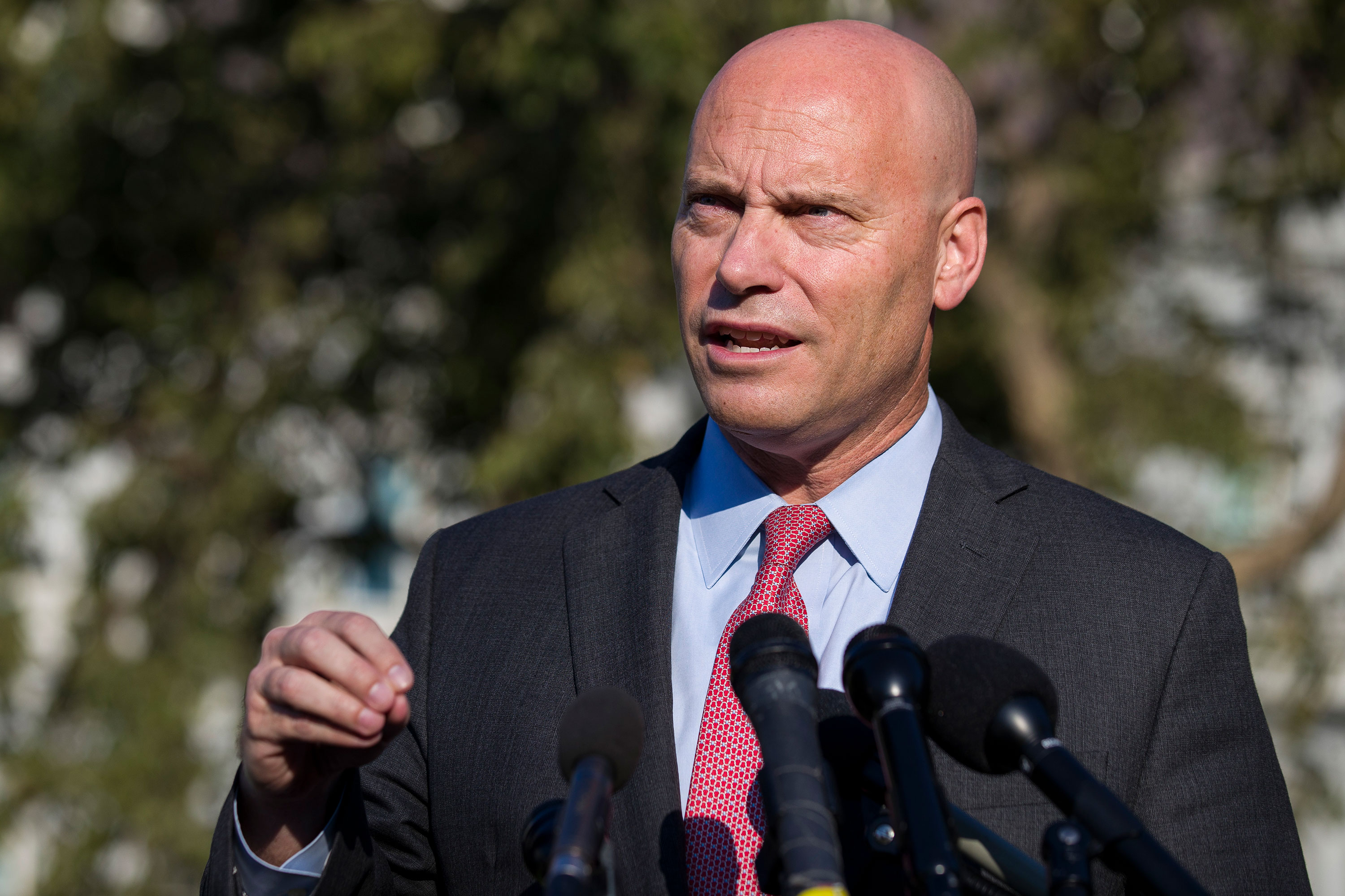 Marc Short speaks to the press on September 16, 2019.