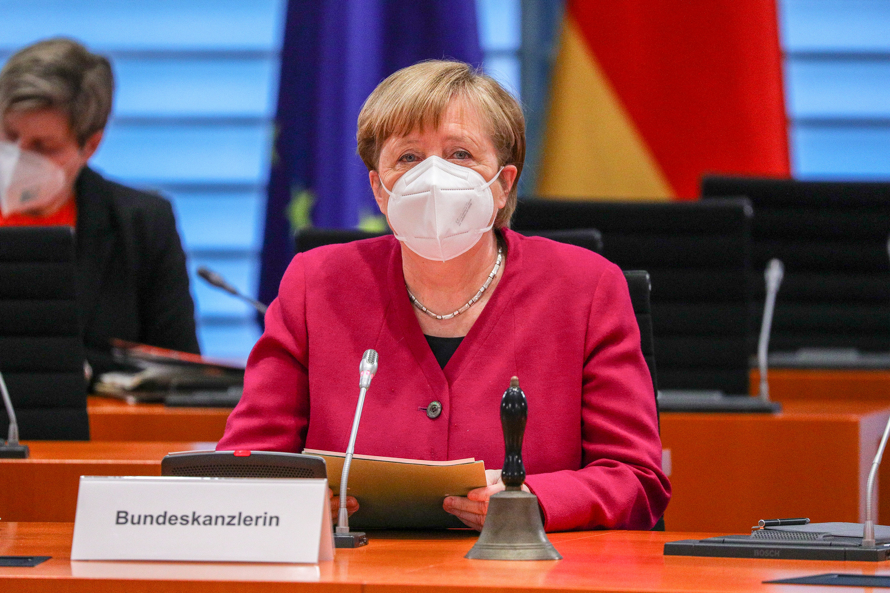 German Chancellor Angela Merkel takes part in a weekly cabinet meeting on March 3, in Berlin, Germany.