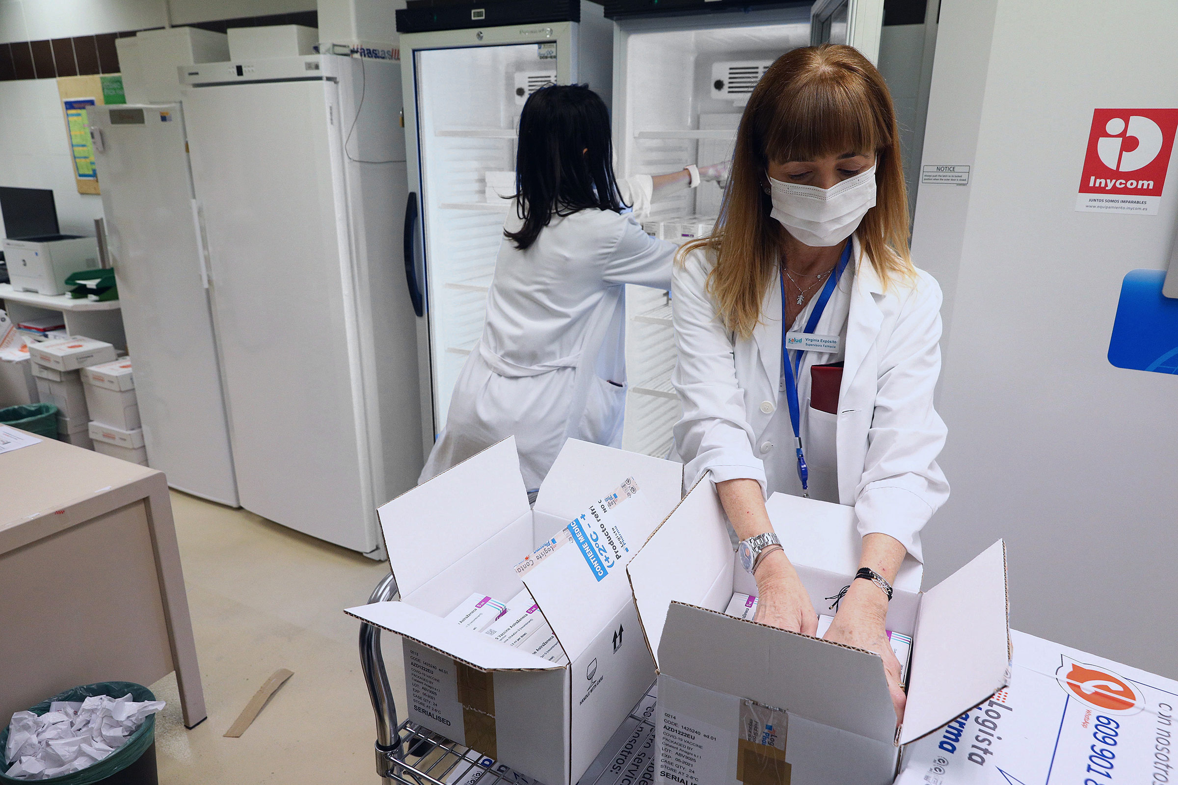 Health workers receive a delivery of the Oxford-AstraZeneca vaccine at University Clinico Hospital in Zaragoza, Spain, on February 8.