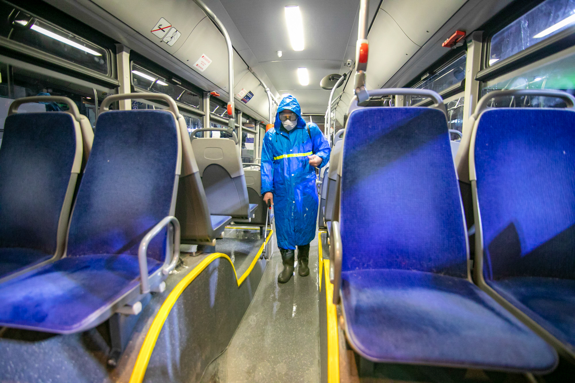 A bus is disinfected in Tbilisi, Georgia, on March 1.