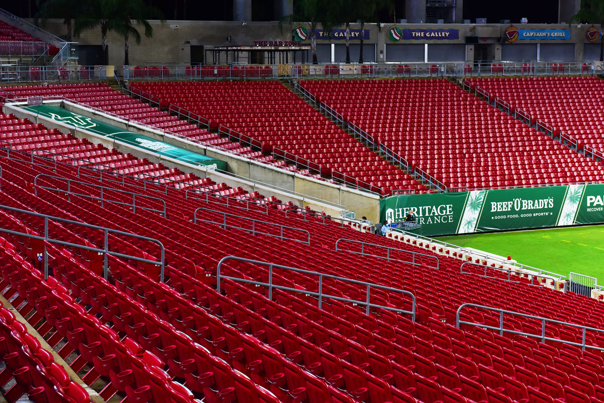 A general view of empty stands at Raymond James Stadium during a game between the South Florida Bulls and the Citadel Bulldogs on September 12 in Tampa, Florida.