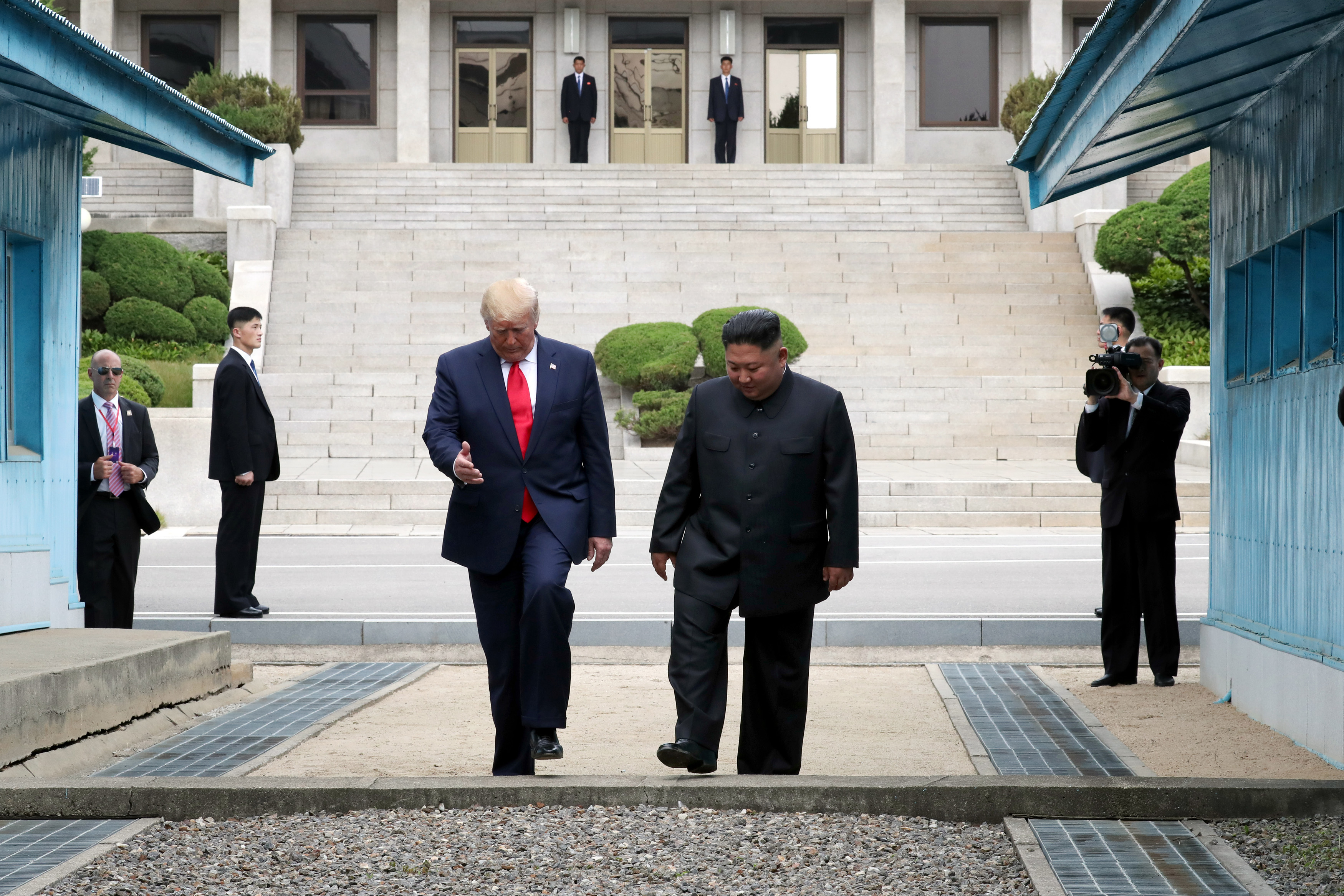 US President Donald Trump and North Korean leader Kim Jong Un at the DMZ.