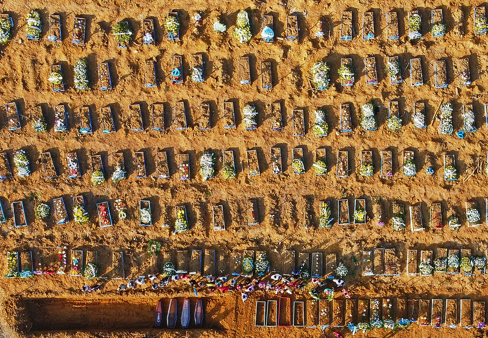 Aerial view of coffins being buried at the Parque Taruma cemetery in Manaus, Brazil, on April 21.