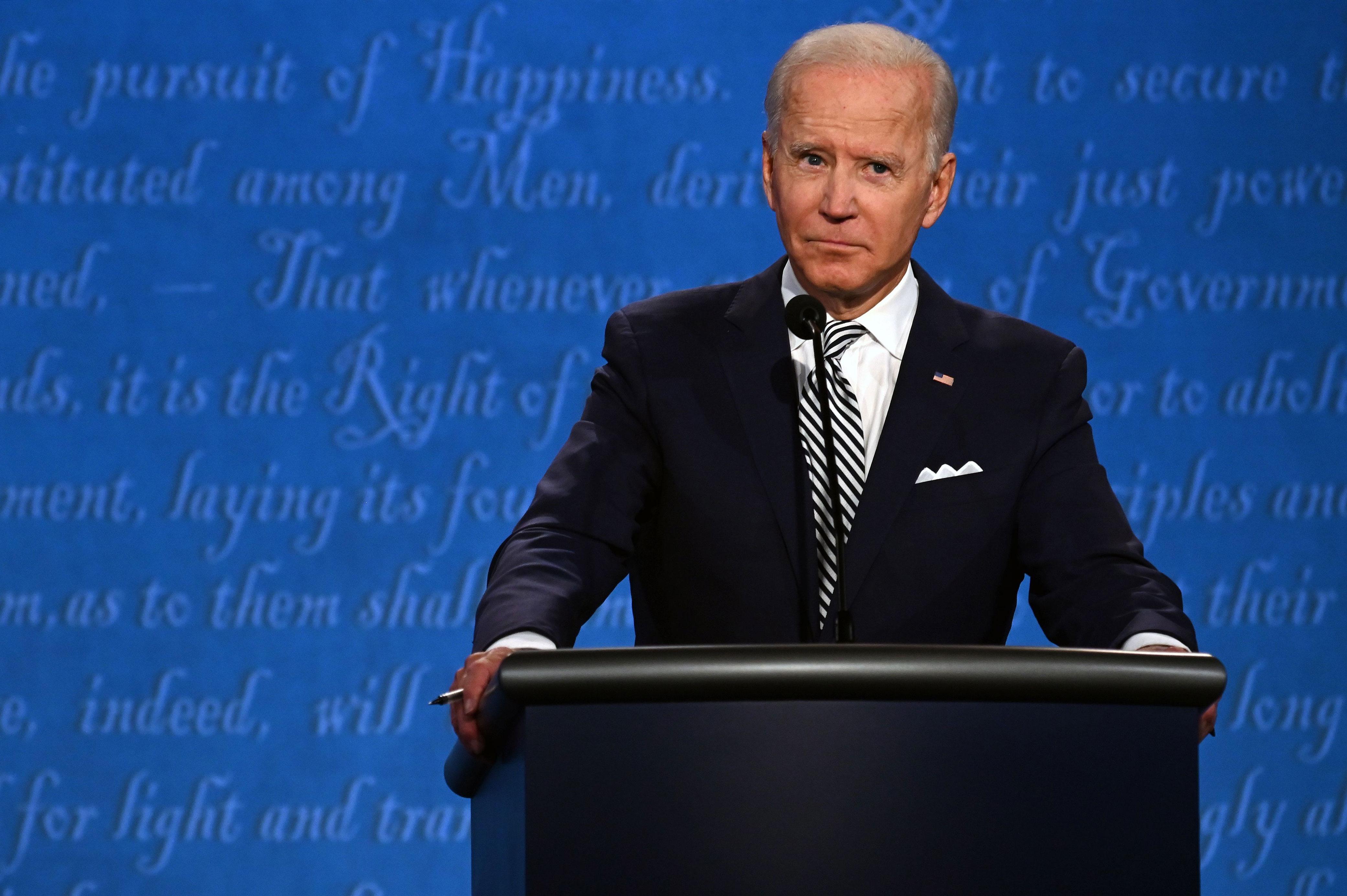 Democratic presidential nominee Joe Biden takes part in the first presidential debate in Cleveland on September 29.