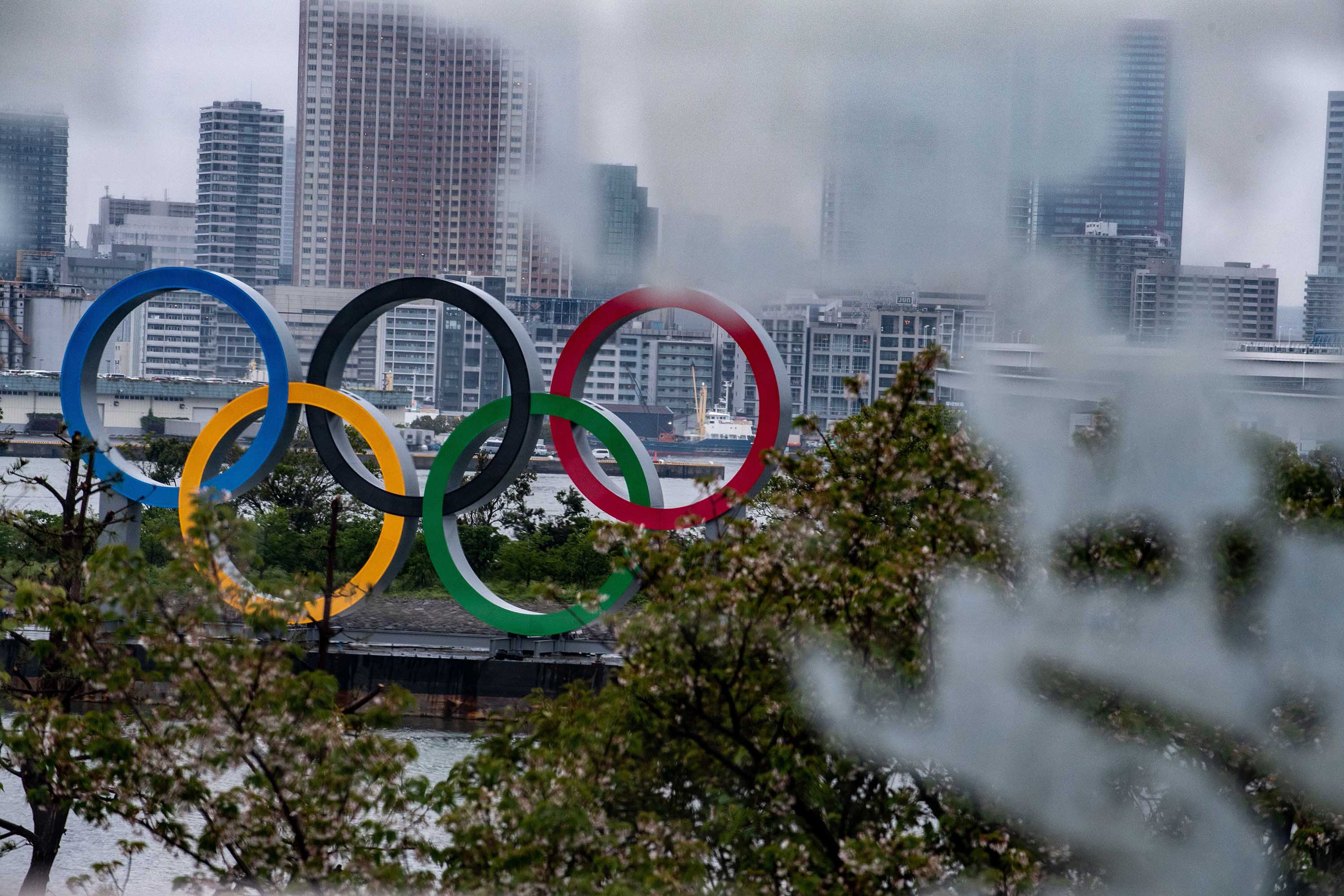 A general view shows the Olympic Rings at Odaiba waterfront in Tokyo on April 20.