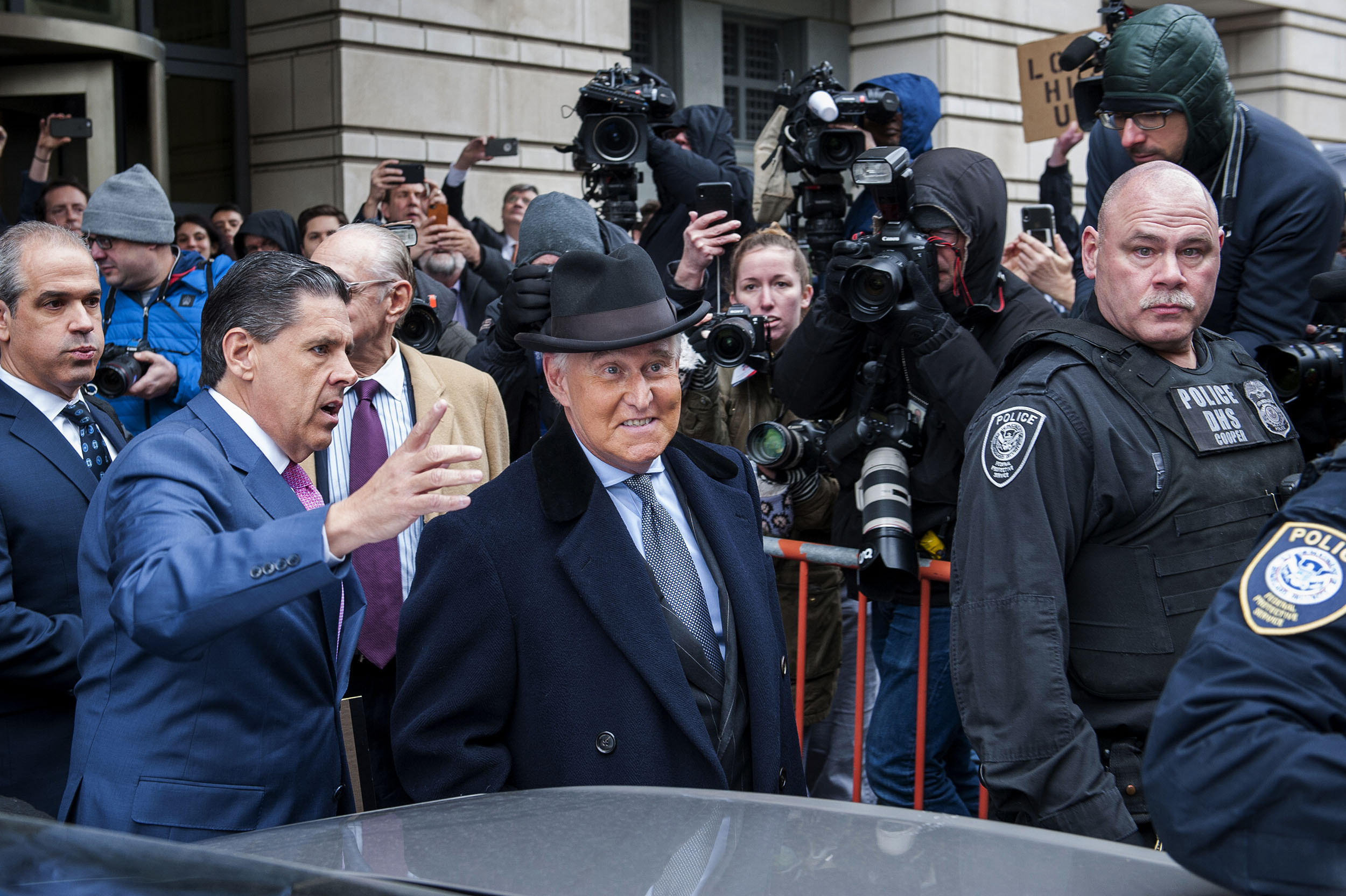 Roger Stone, a close friend of President Donald Trump, exits from federal court following his sentencing to 40 months in prison on February 20, in Washington, DC.