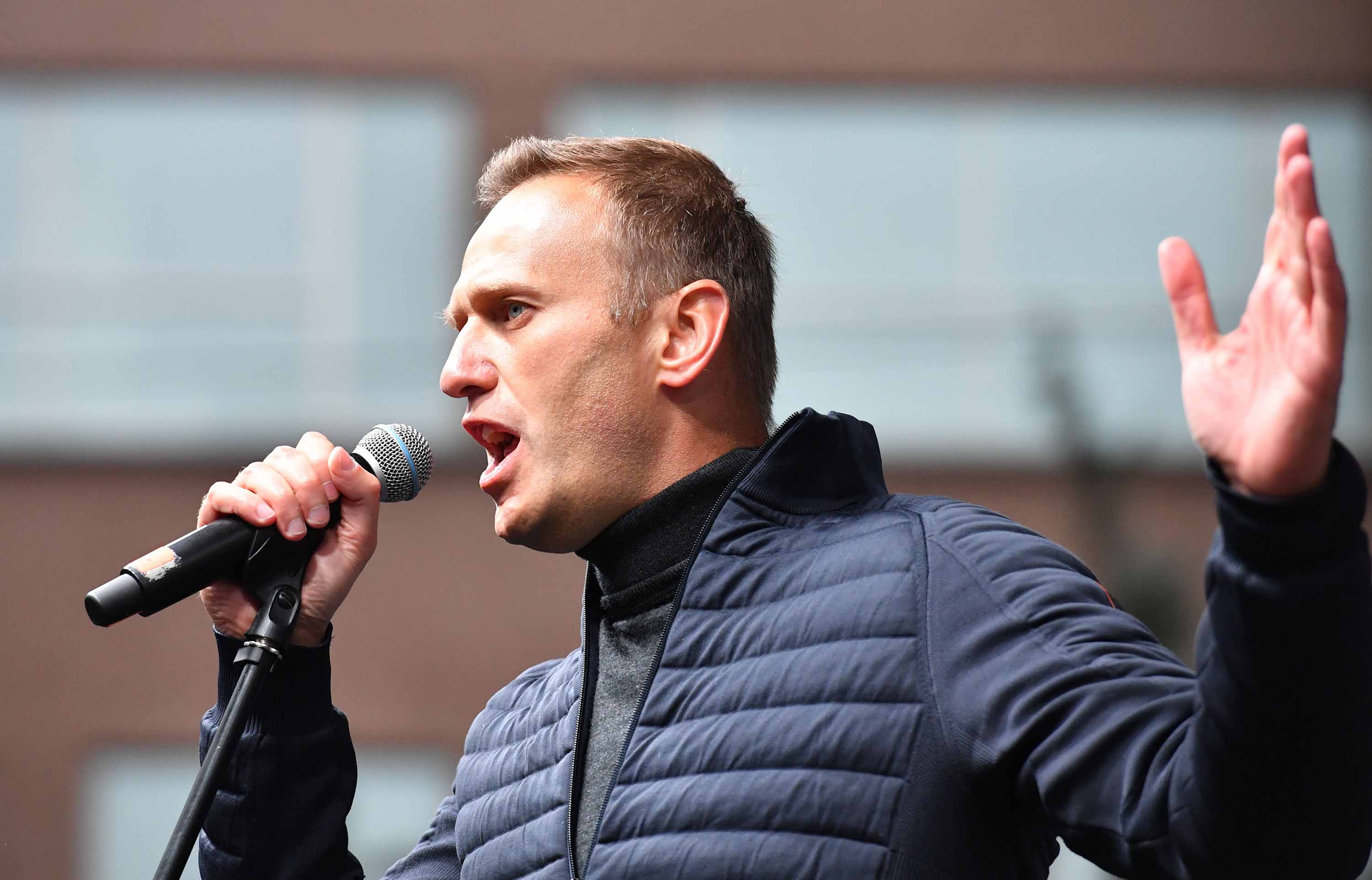 Russian opposition leader Alexei Navalny speaks during a demonstration in Moscow in September 2019.