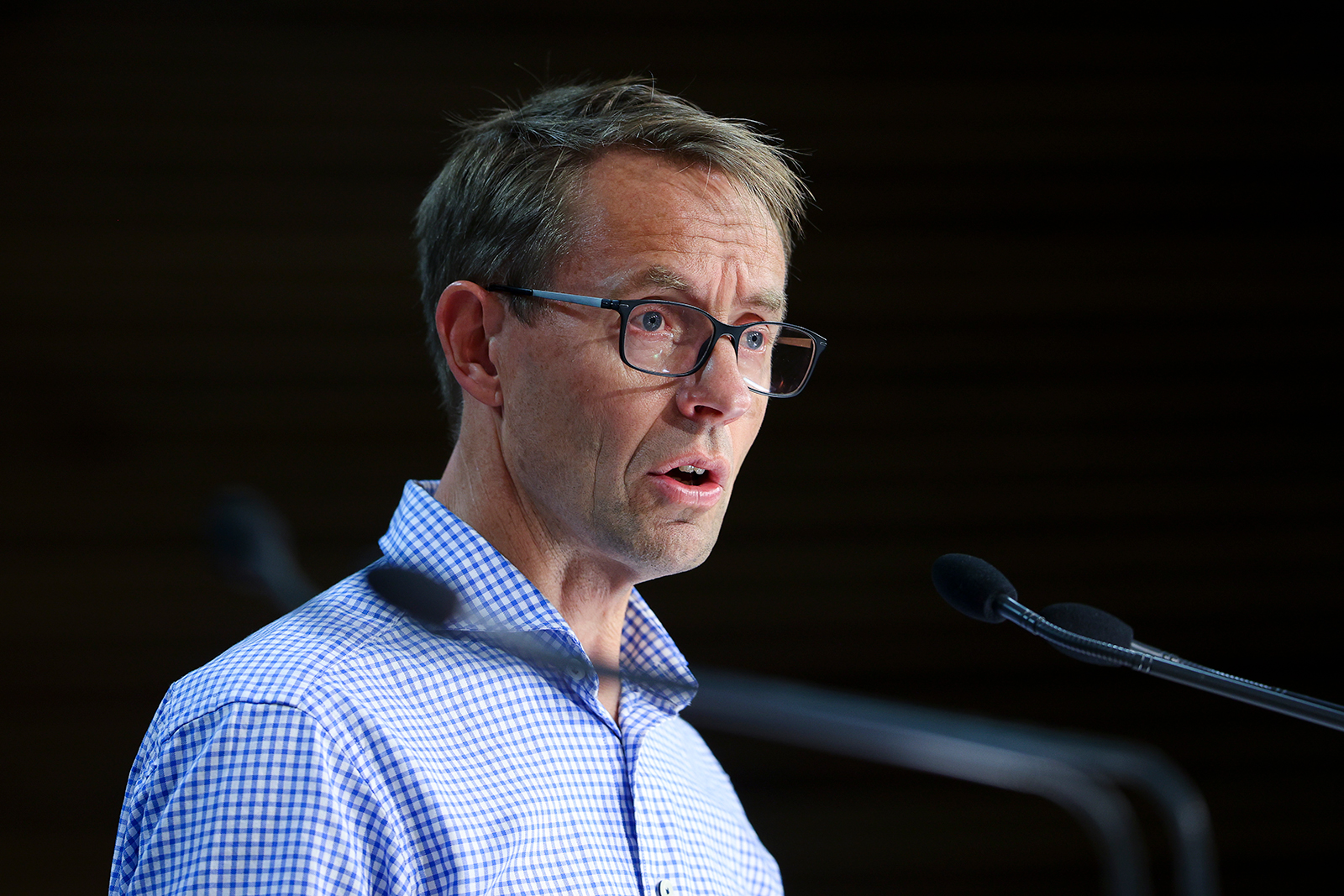Director General of Health Dr. Ashley Bloomfield speaks to the media during a news conference at Parliament in Wellington, New Zealand, on January 24.