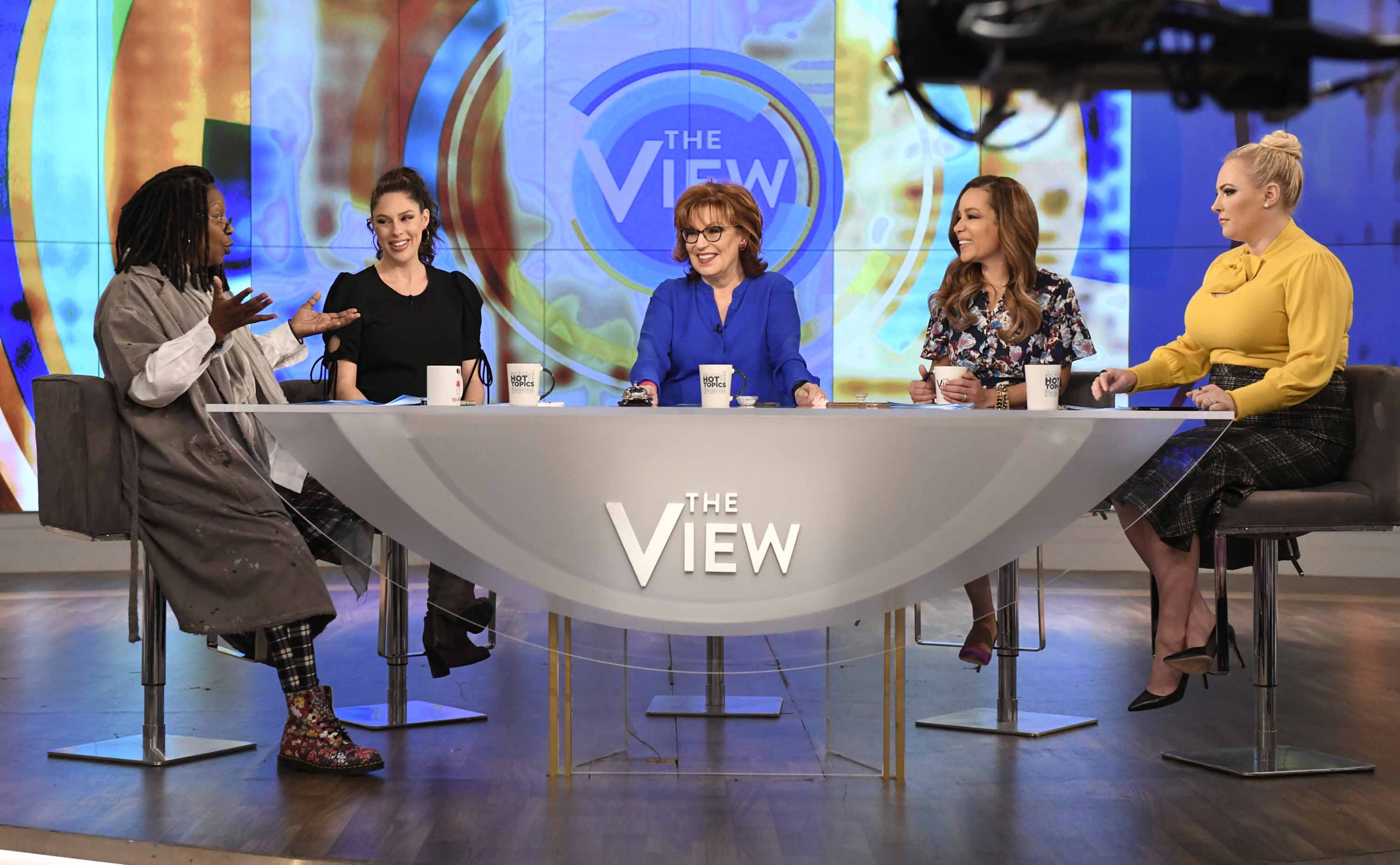 """Presenters of Walt Disney Television's show """"The View""""are pictured on set in March 2019."""