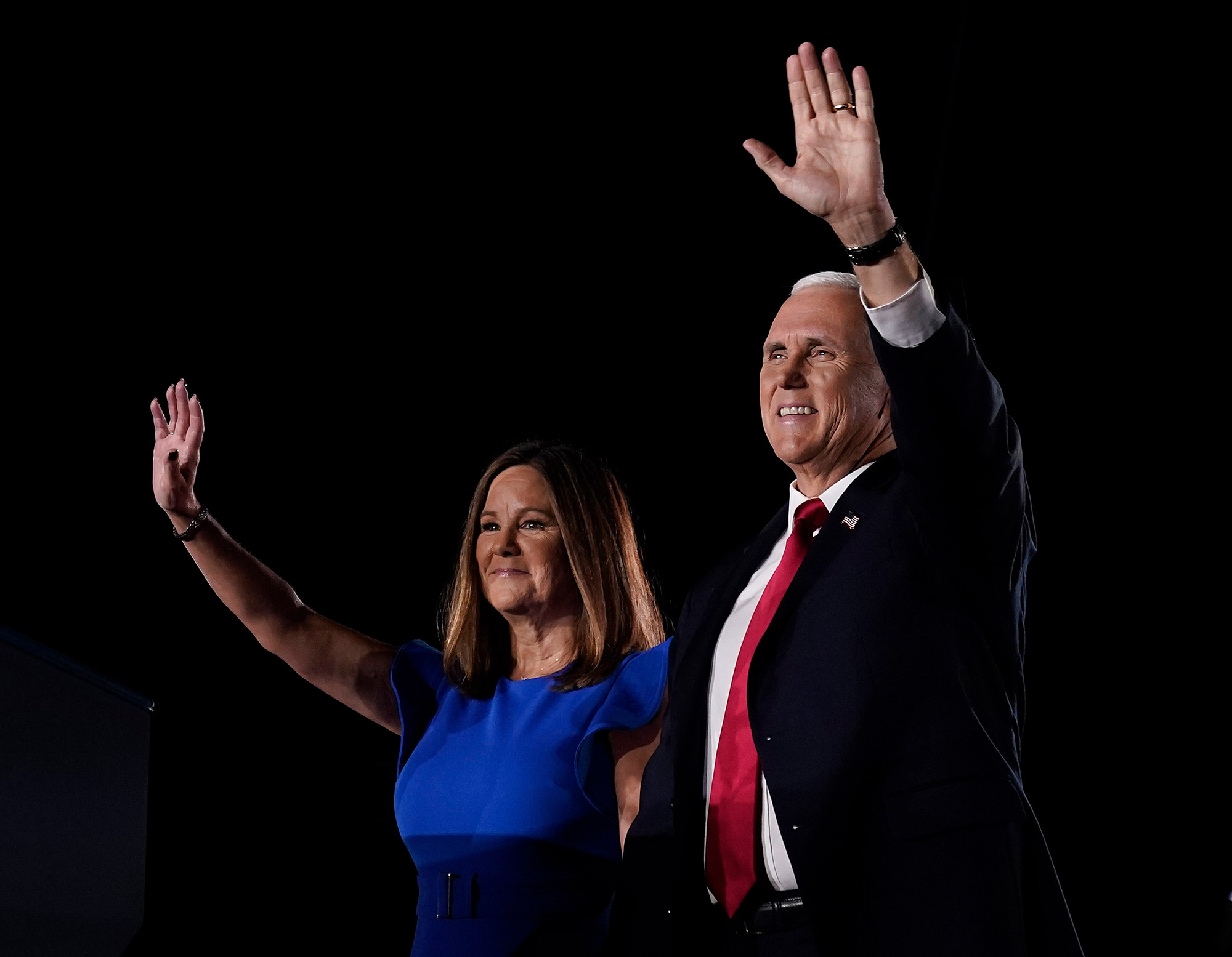 Vice President Mike Pence and second lady Karen Pence attend the Republican National Convention on August 26 in Baltimore, Maryland.