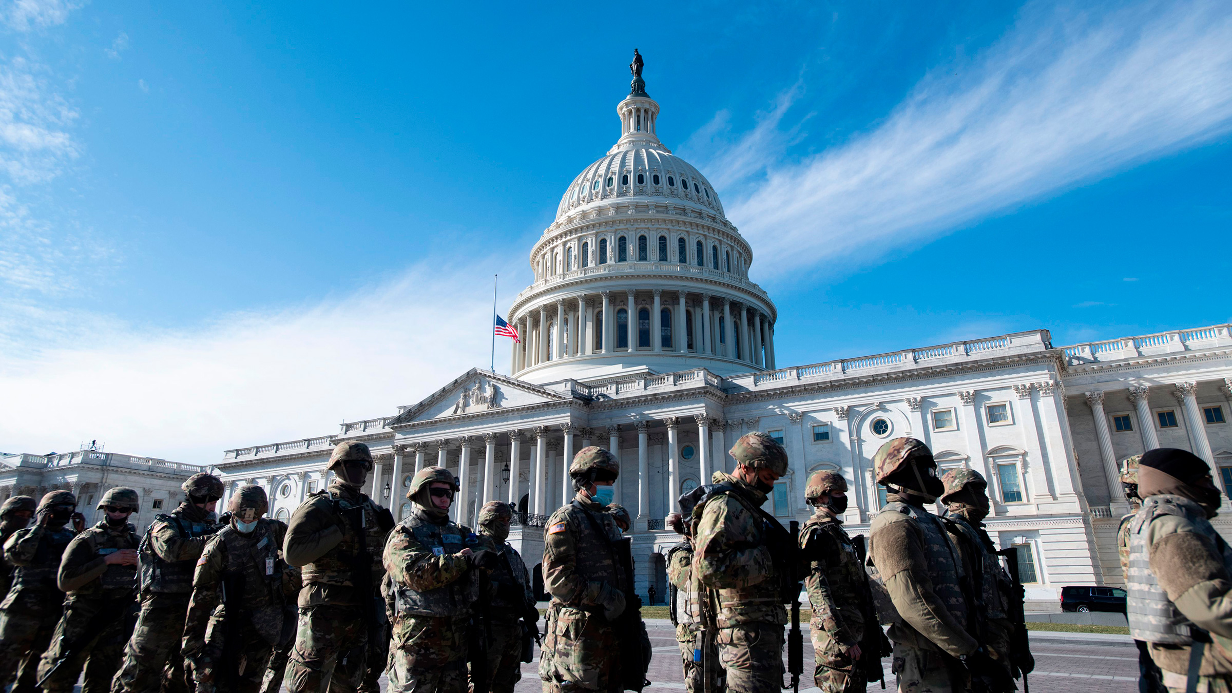 National Guard members are seen outside the US Capitol on January 18, in Washington, DC.