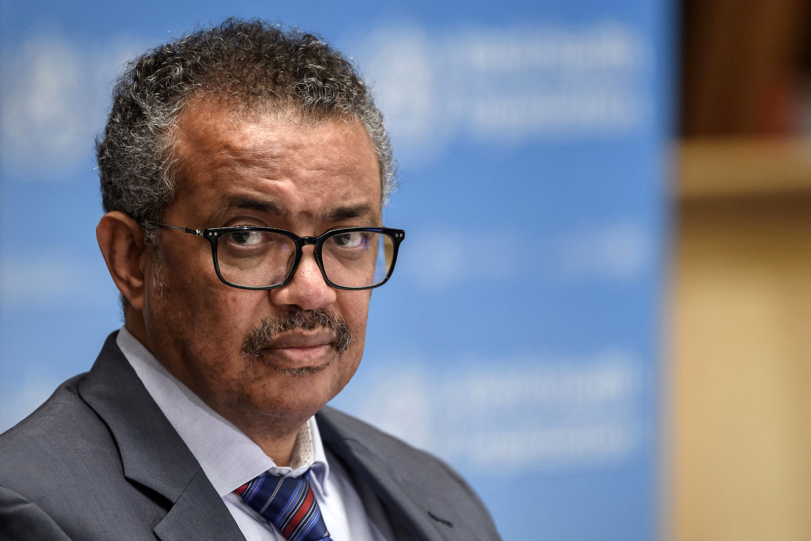 World Health Organization (WHO) Director-General Tedros Adhanom Ghebreyesus attends a press conference at the WHO headquarters in Geneva on July 3.