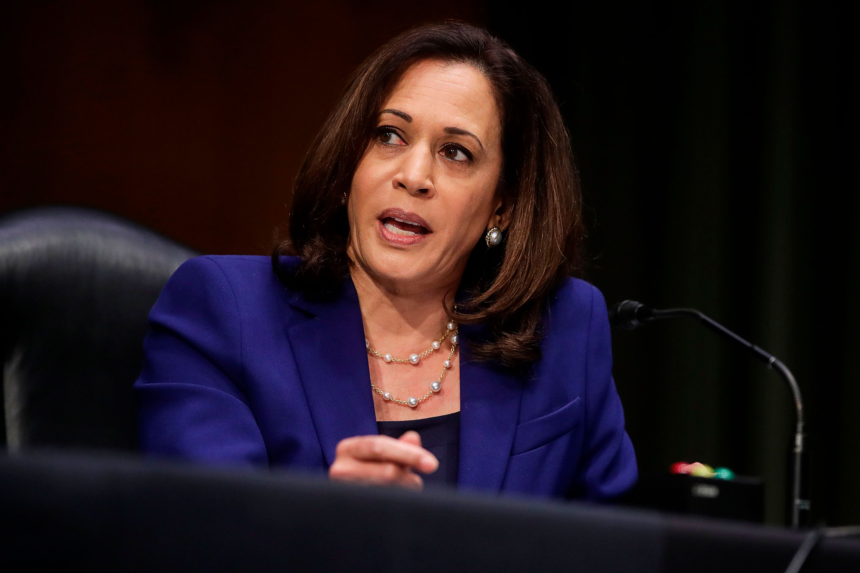 Sen. Kamala Harris speaks during a Senate Judiciary Committee on June 16 in Washington, DC.