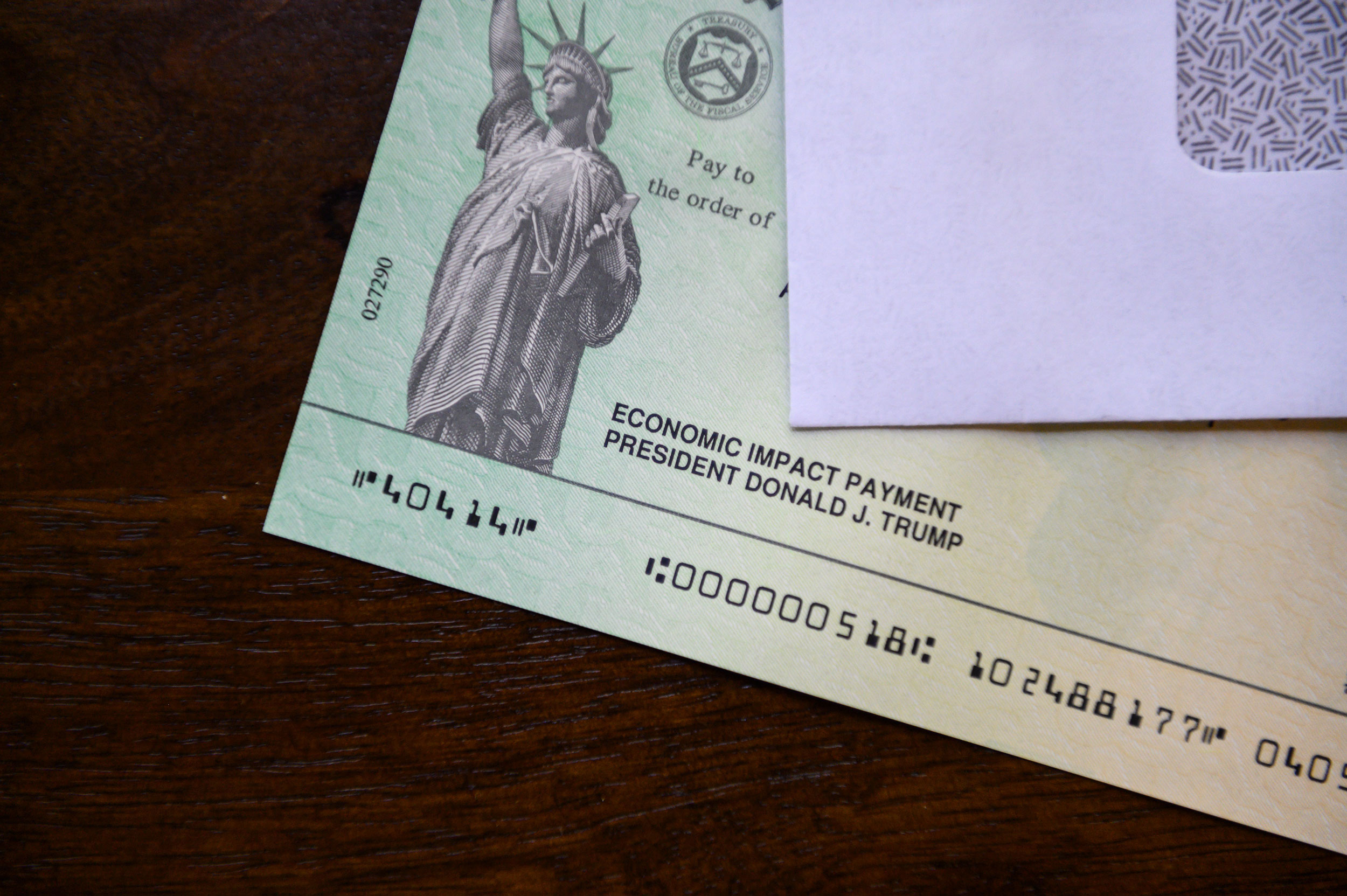 President Donald Trump's name appears on a stimulus check on May 3.