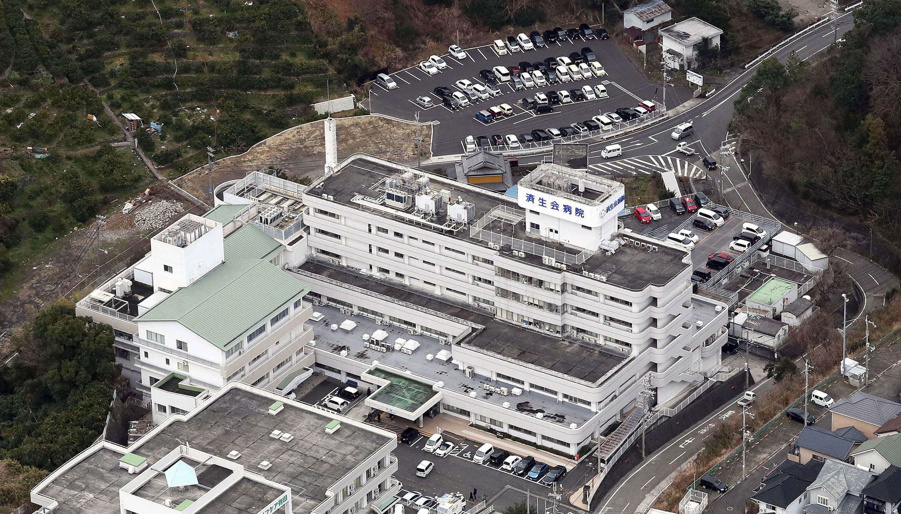 An aerial view shows Saiseikai Arida Hospital in Yuasa, Japan, where a doctor was confirmed to have been infected with the novel coronavirus.