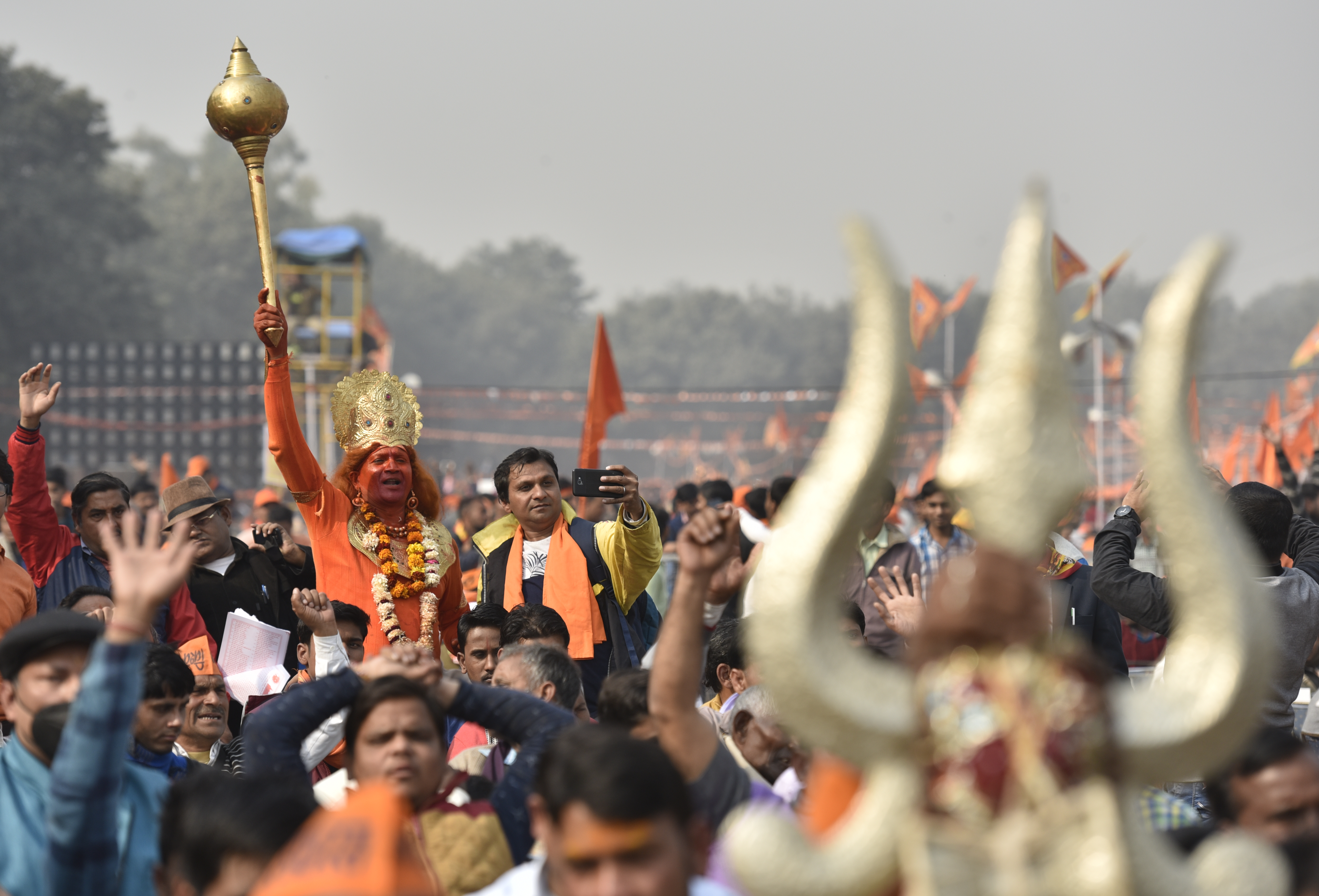 Thousands of Hindus gather in support of the construction of a Ram Temple in Ayodhya, on December 9, 2018 in New Delhi, India.