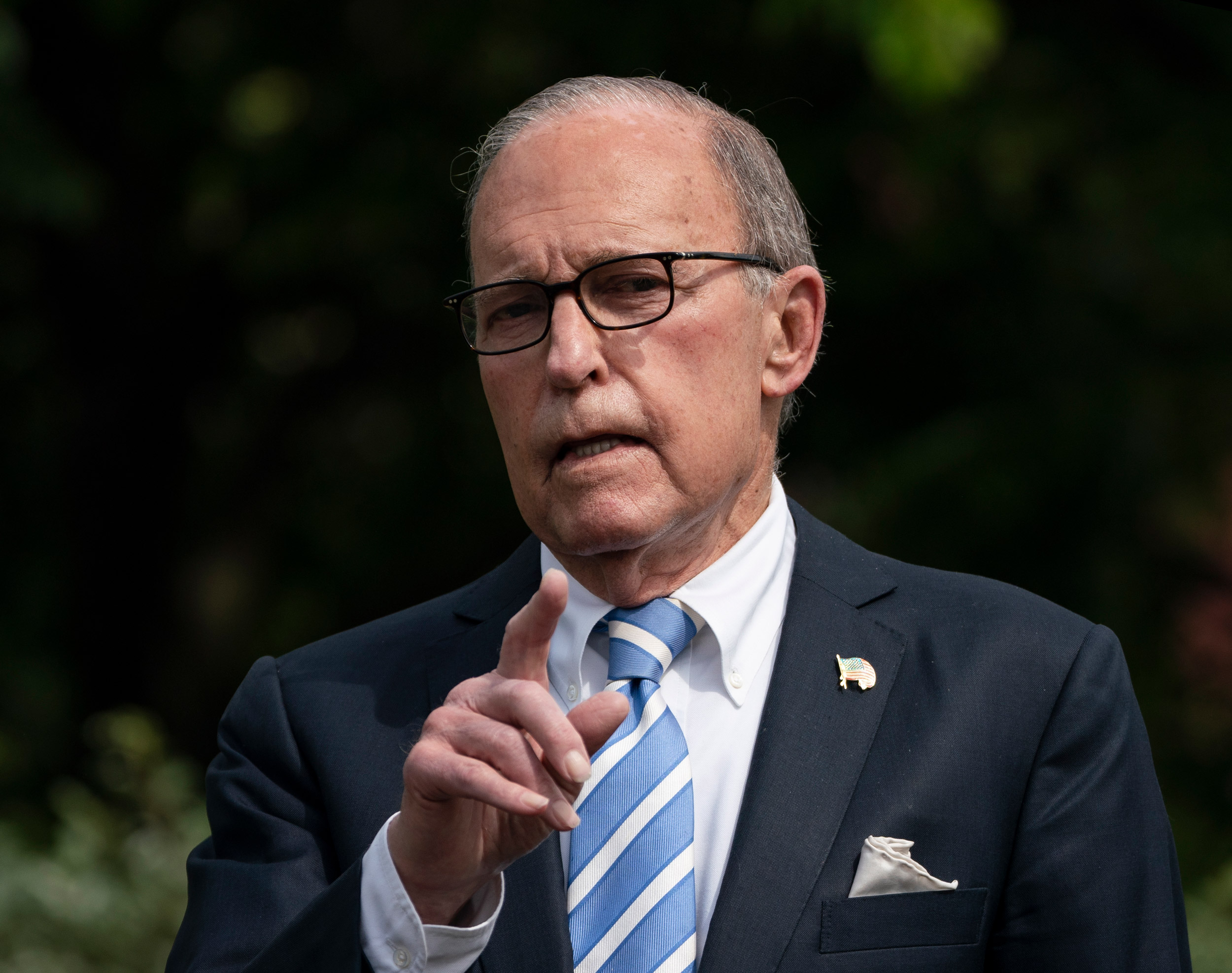 Director of the United States National Economic Council Larry Kudlow speaks to reporters outside the White House on May 15 in Washington, DC.