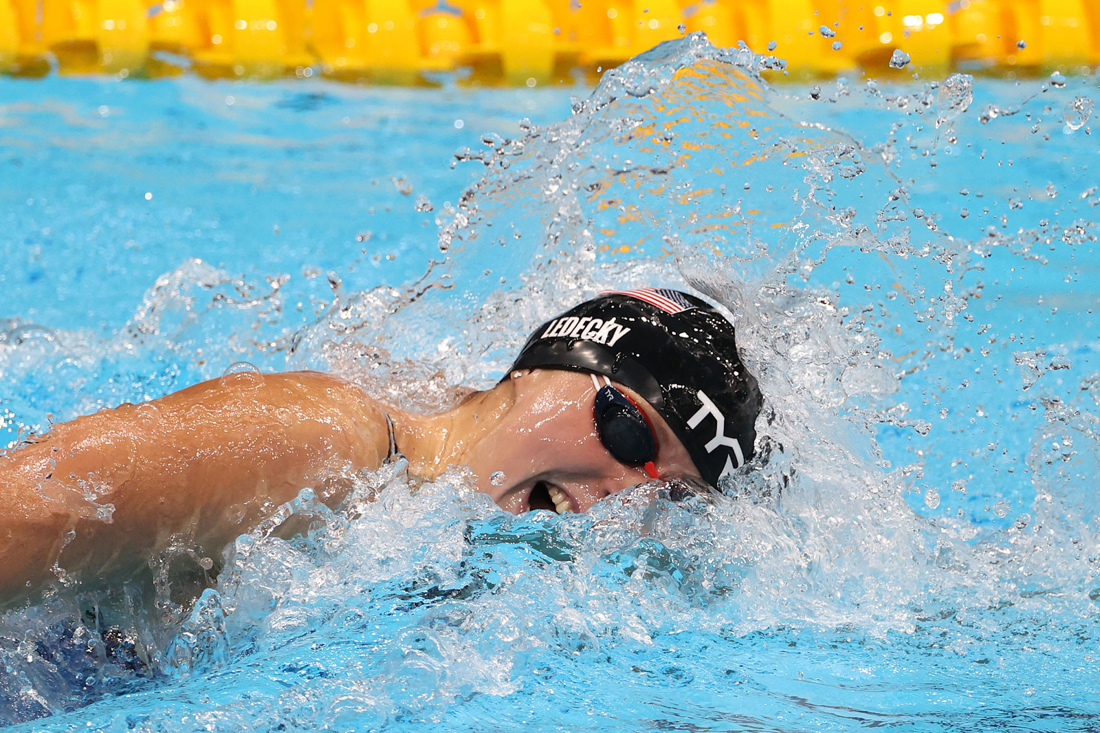 Katie Ledecky competes in the 800m Freestyle Final at Tokyo Aquatics Centre on July 31.