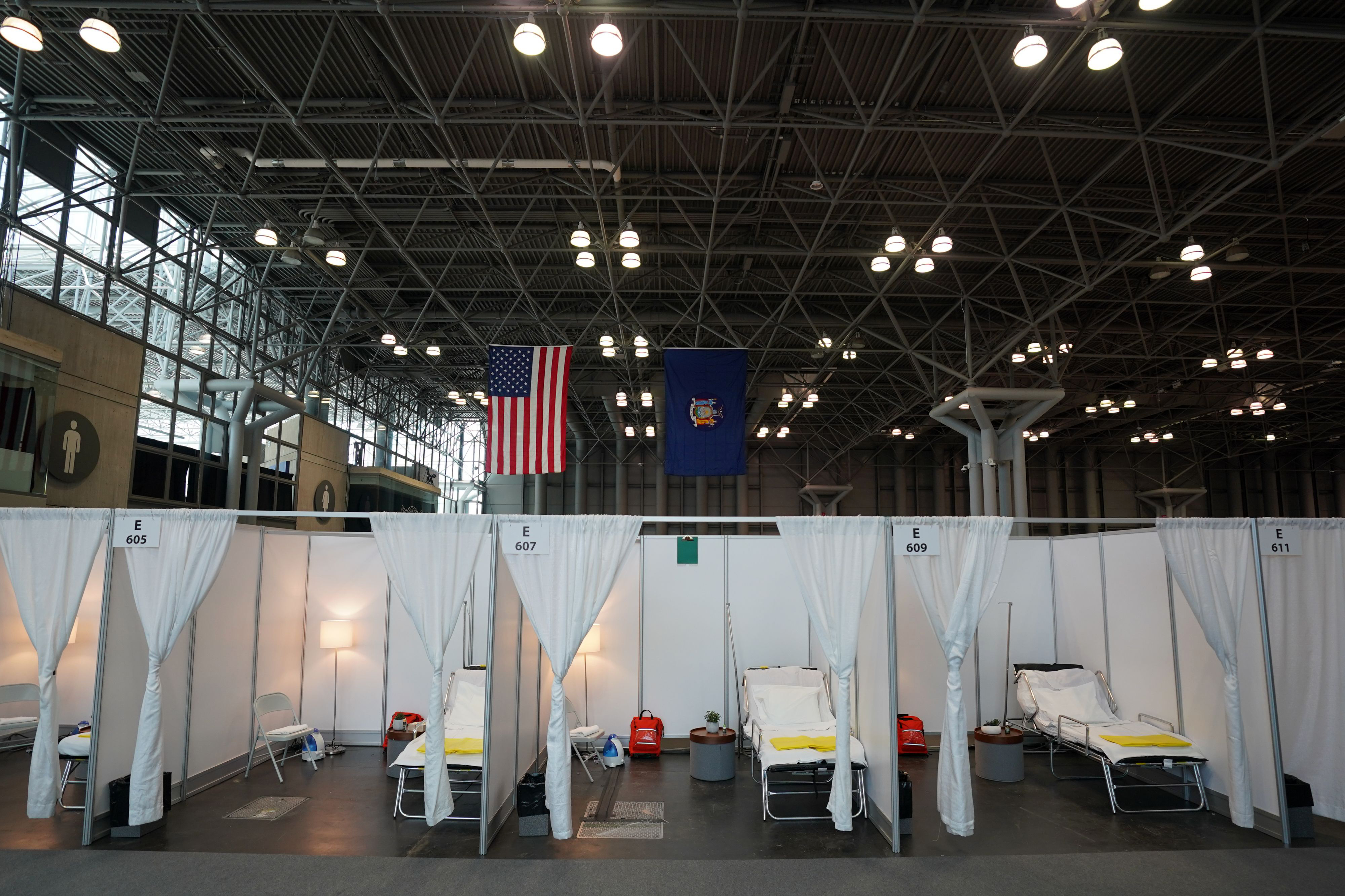 A temporary hospital is set up at the Javits Convention Center in New York on March 27.