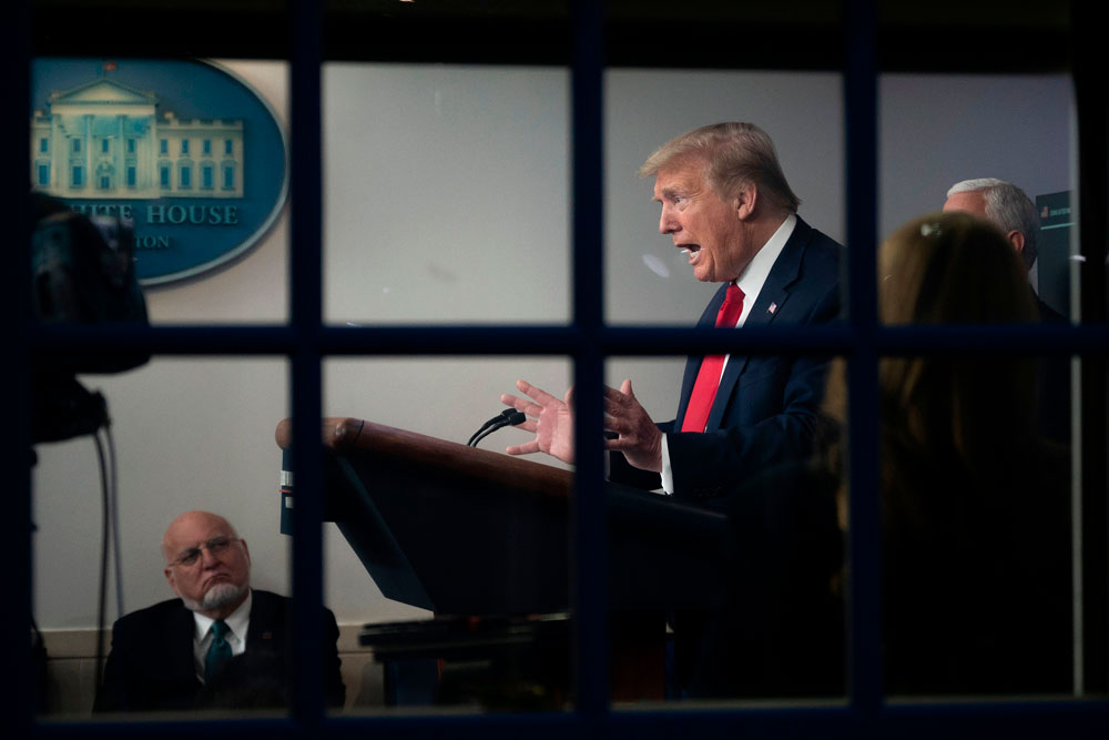 US President Donald Trump speaks during the daily briefing on the novel coronavirus, in the White House on April 17, in Washington.
