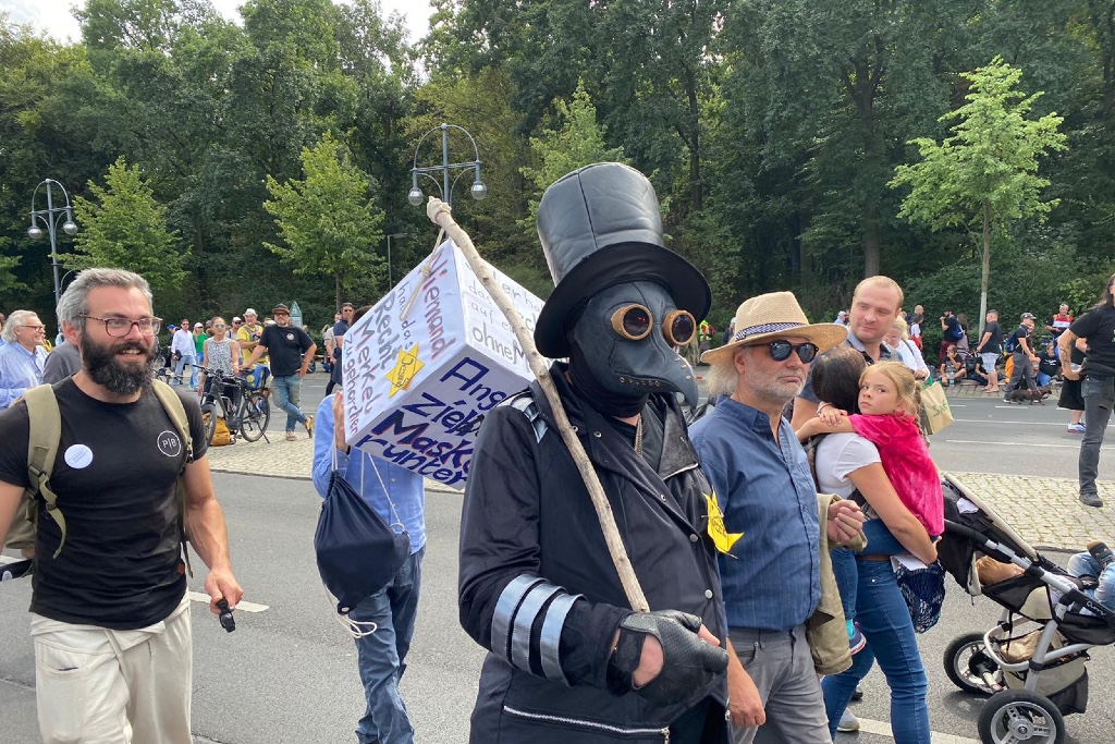 Roughly 20,000 people were expected at the protest in Berlin against the German government's handling of the pandemic.