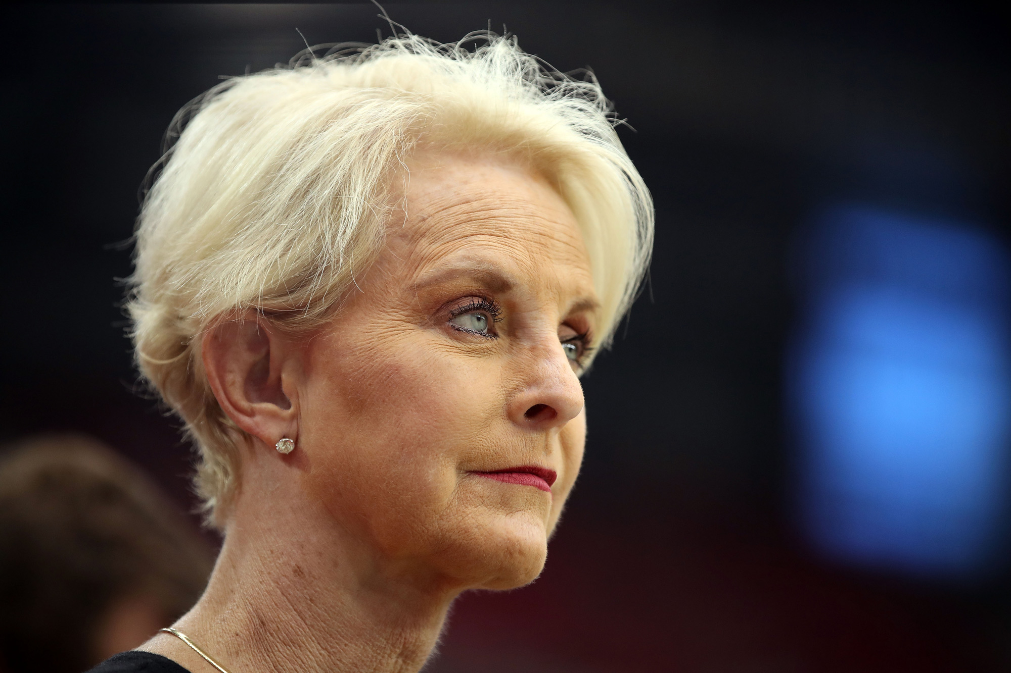 Cindy McCain, wife of the late U.S. Senator John McCain, stands on the sidelines before a game at State Farm Stadium on September 9, 2018 in Glendale, Arizona.