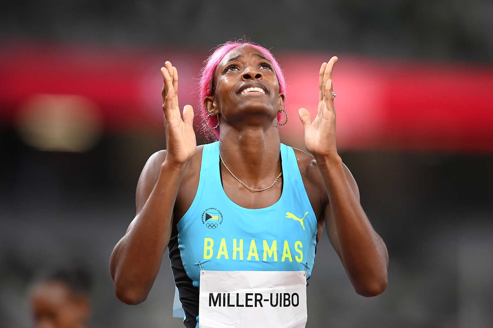 Shaunae Miller-Uibo of Team Bahamas reacts after winning the gold medal in the women's 400 meter final on August 6.