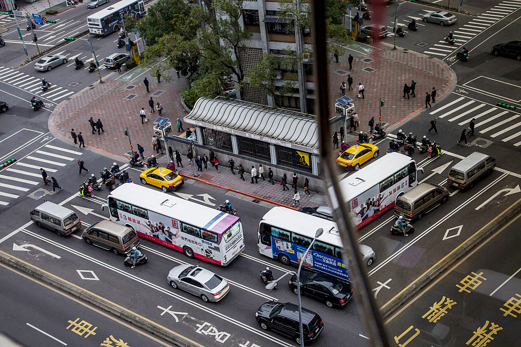 Traffic at an intersection on January 14, 2016 in Taipei.
