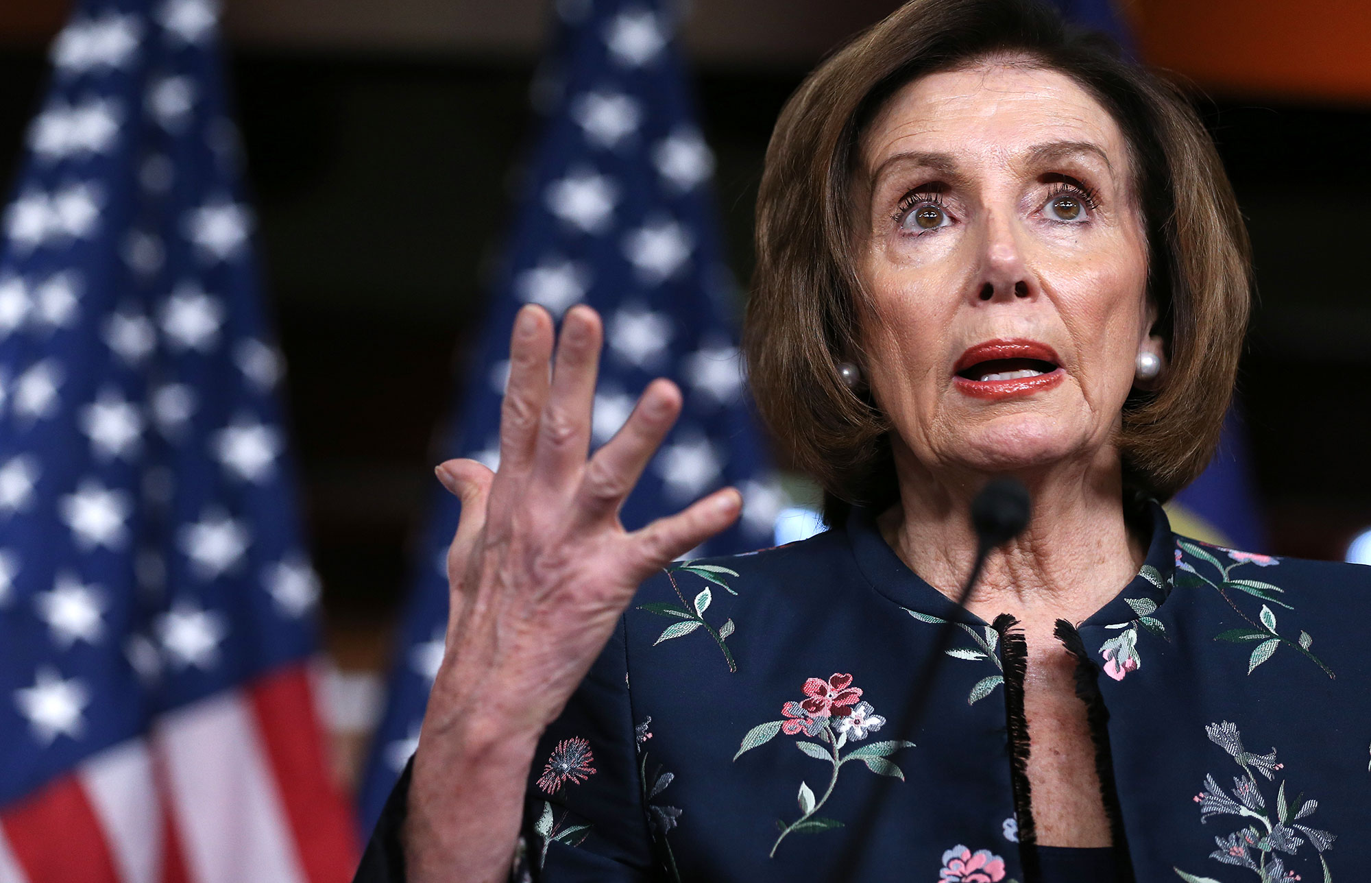 In this file photo, Nancy Pelosi speaks at her weekly press conference at the U.S. Capitol on January 30.