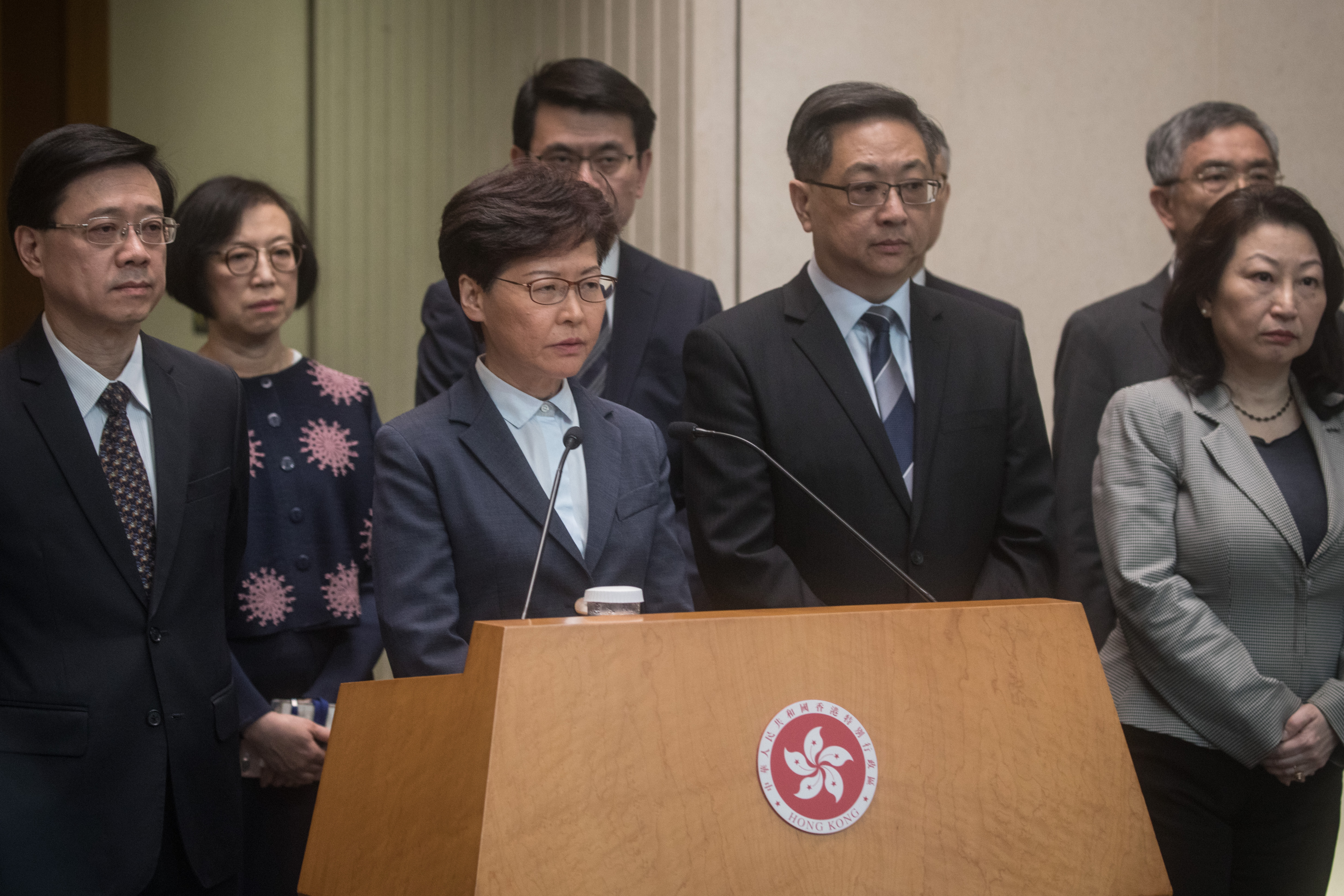 Hong Kong Chief Executive Carrie Lam speaks to the media on July 22, 2019.