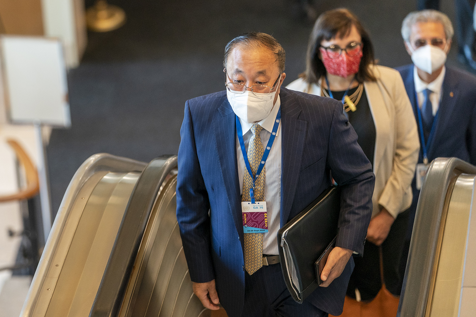 Chinese Ambassador to the United Nations Zhang Jun arrives for the 75th session of the United Nations General Assembly on Tuesday in New York.