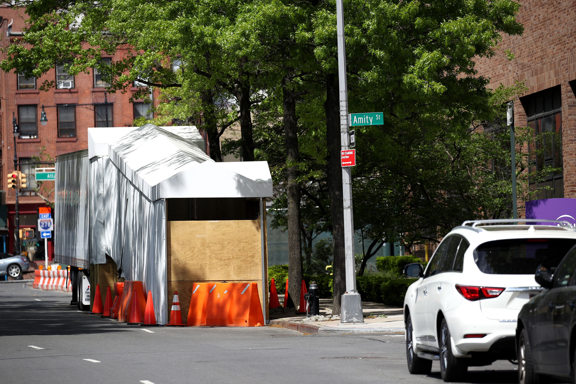 A refrigerated truck serving as make shift morgue is seen outside of NYU Langone Health Cobble Hill emergency department on May 17 in the Cobble Hill neighborhood of the Brooklyn borough of New York City.