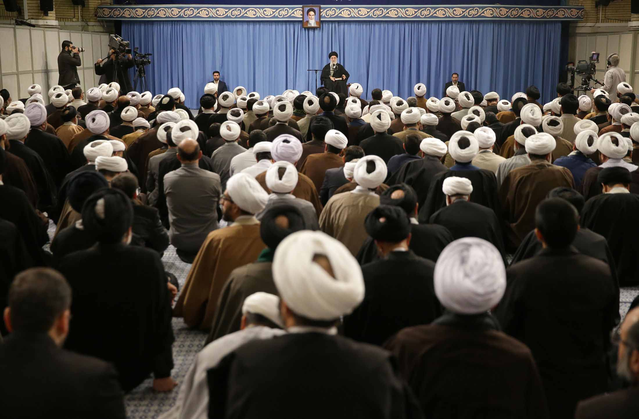 Iranian Supreme Leader Ali Khamenei speaks about Iran's coronavirus cases and last week's elections in Tehran, Iran on Sunday.