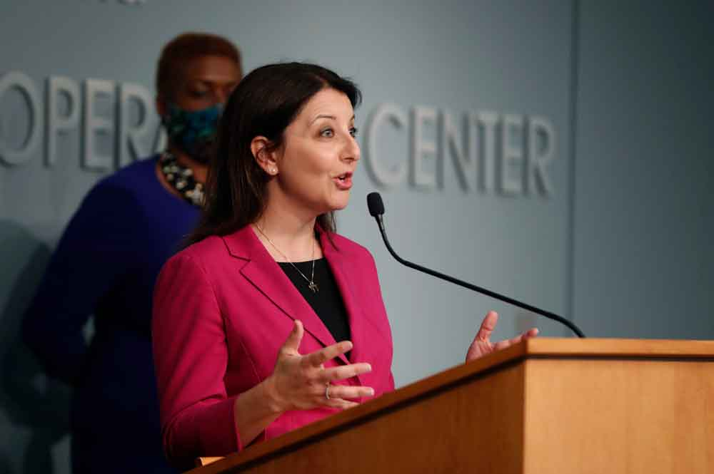 Dr. Mandy Cohen, secretary of the state Department of Health and Human Services, answers a question during a briefing at the Emergency Operations Center in Raleigh, North Carolina, on Thursday, June 4.