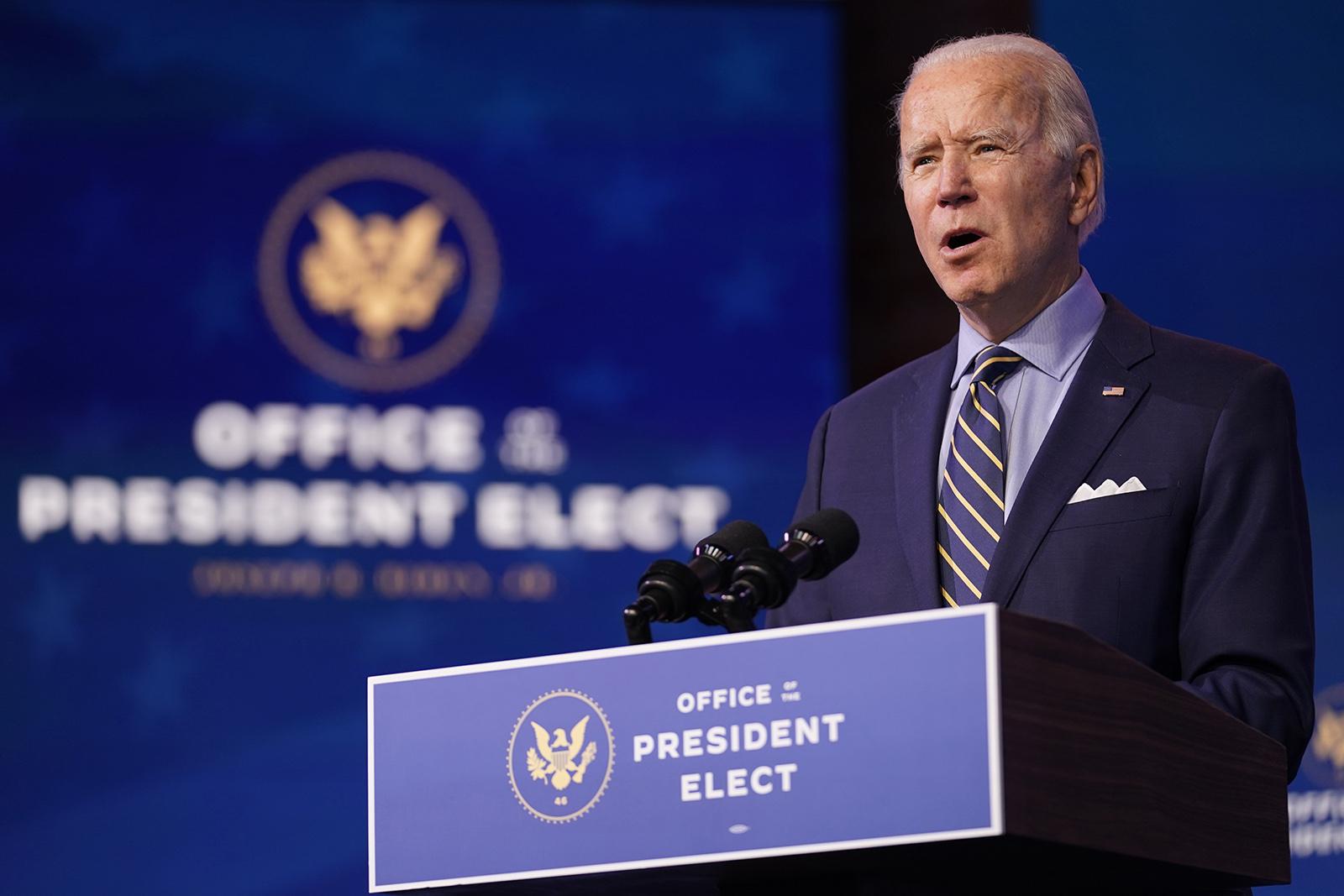 President-elect Joe Biden speaks at The Queen theater on Monday, December 28, in Wilmington, Delaware.