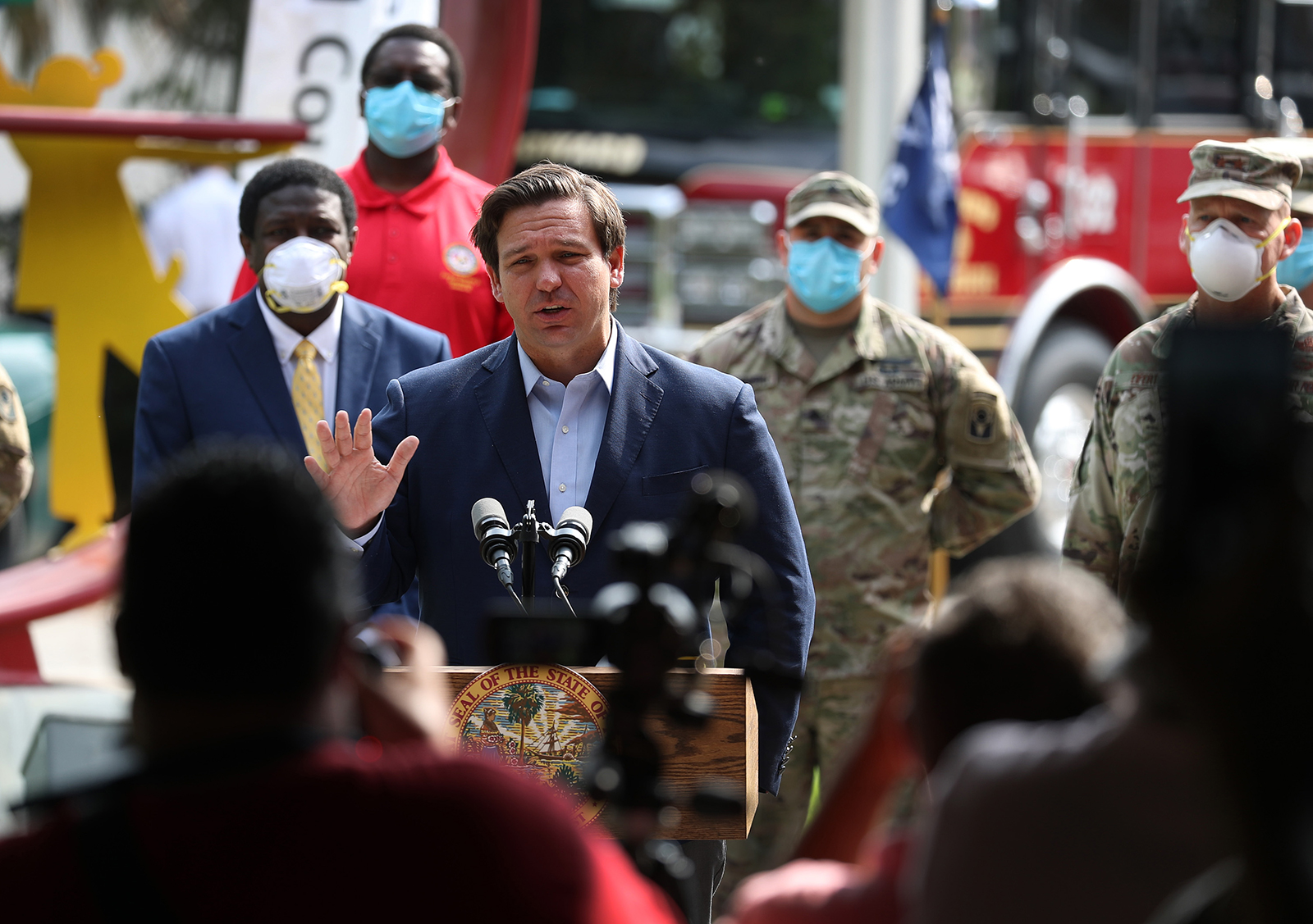 Florida Gov. Ron DeSantis gives updates about the state's response to the coronavirus pandemic during a press conference on Friday, April 17, in Fort Lauderdale.