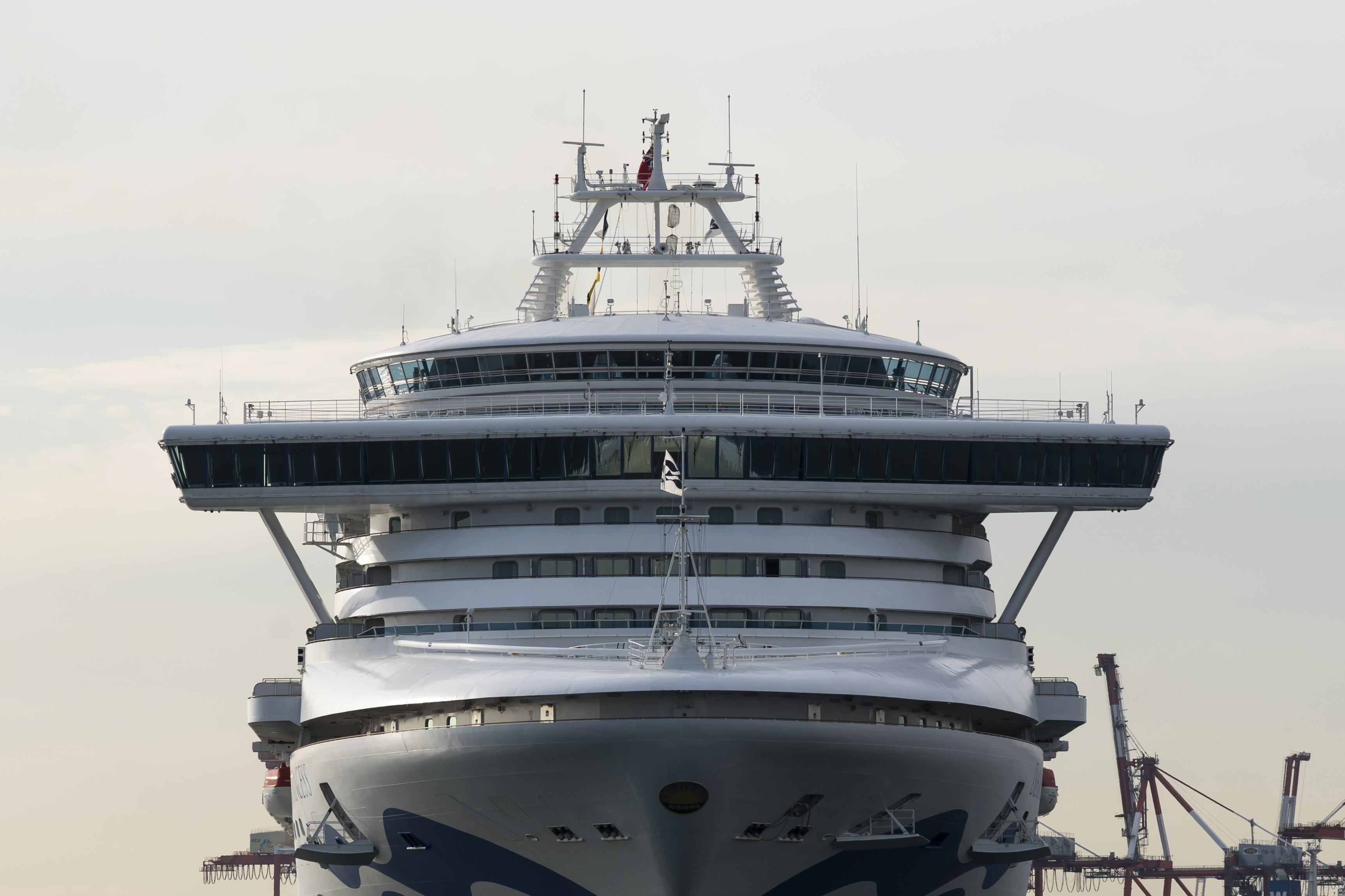 The Diamond Princess cruise ship at Daikoku Pier, Yokohama where it is being resupplied and newly diagnosed coronavirus cases taken for treatment as it remains in quarantine.