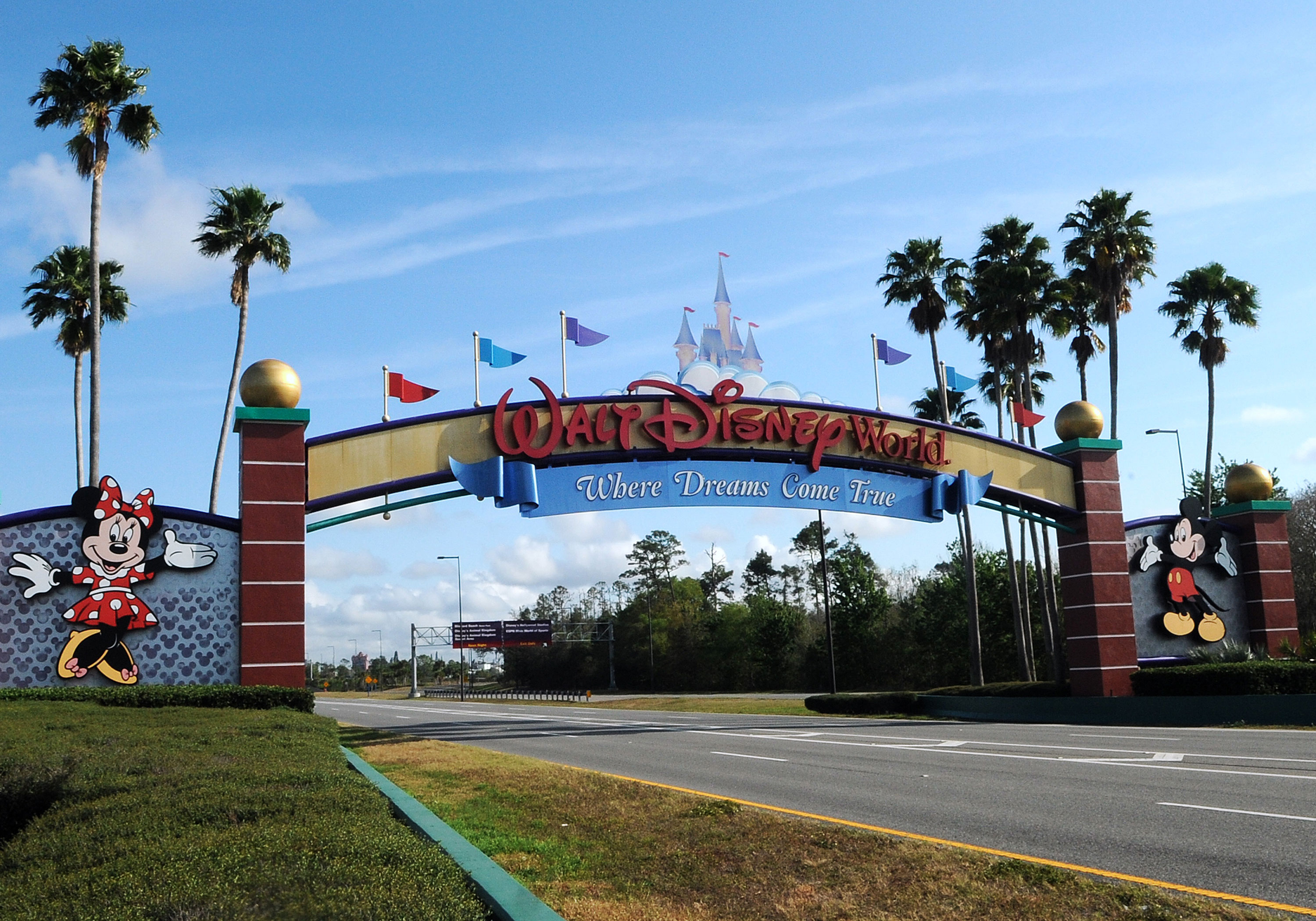 The entrance to Disney World in Orlando is seen empty on March 16, the first day the theme park was closed.