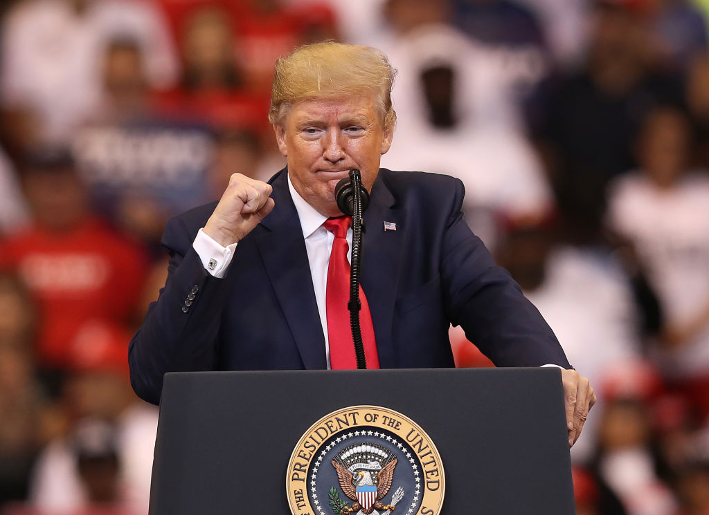 President Donald Trump speaks during a homecoming campaign rally at the BB&T Center on November 26, 2019 in Sunrise, Florida.